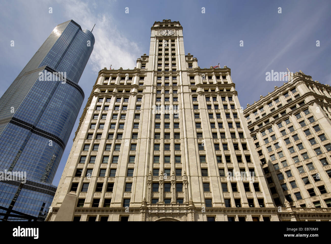 Wrigley Building (Graham, Anderson, Probst & White, 1921-1924), Trump Tower on left, Chicago, Illinois, USA - Stock Image