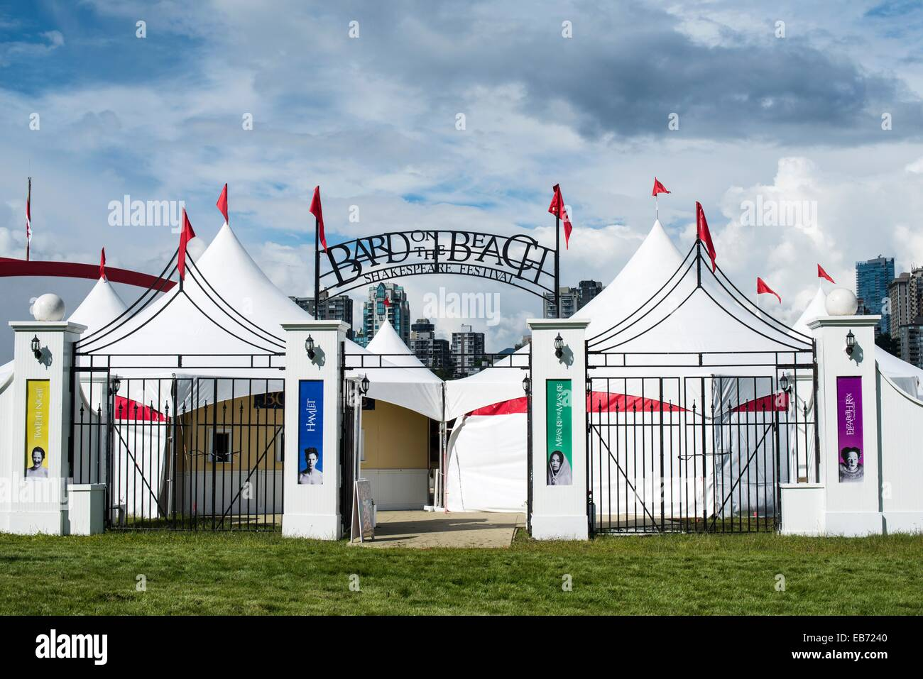 entrance to Bard on the Beach, the summer Shakespeare festival in Vanier Park, Vancouver, BC, Canada. - Stock Image