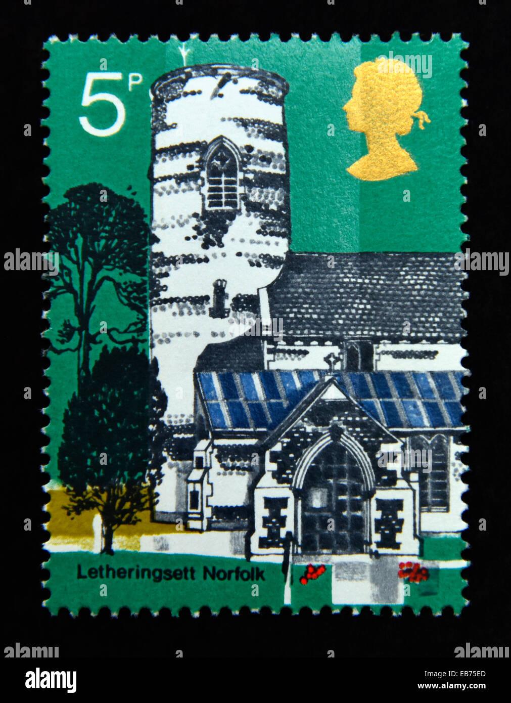 Postage stamp. Great Britain. Queen Elizabeth II. British Anniversaries. 1971. British Architecture. Village Churches. - Stock Image