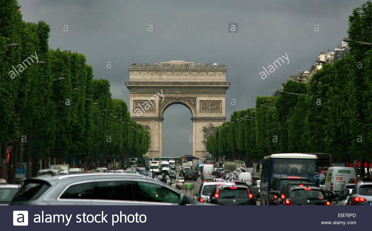 Champs-Elysees avenue, and Arc de Triomphe, Paris. - Stock Image
