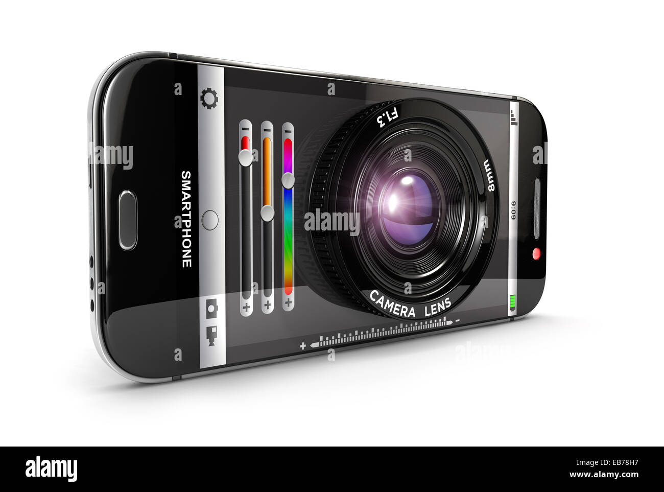 3d smartphone camera, isolated white background, 3d image Stock Photo