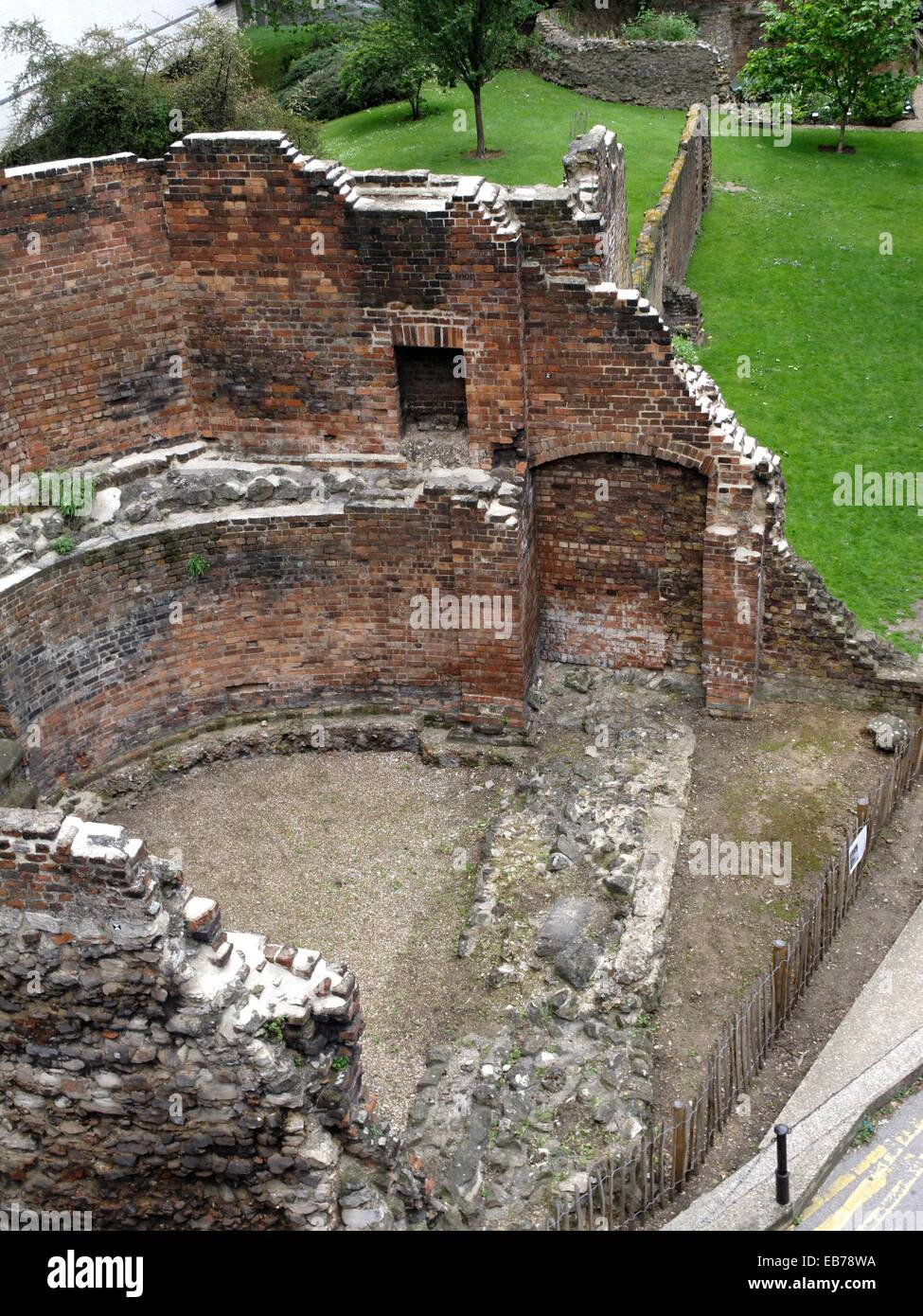 Ruins of rectangular fort built by Romans in AD 100-120  City of Wesminster  London city  England  Uited Kingdom. - Stock Image