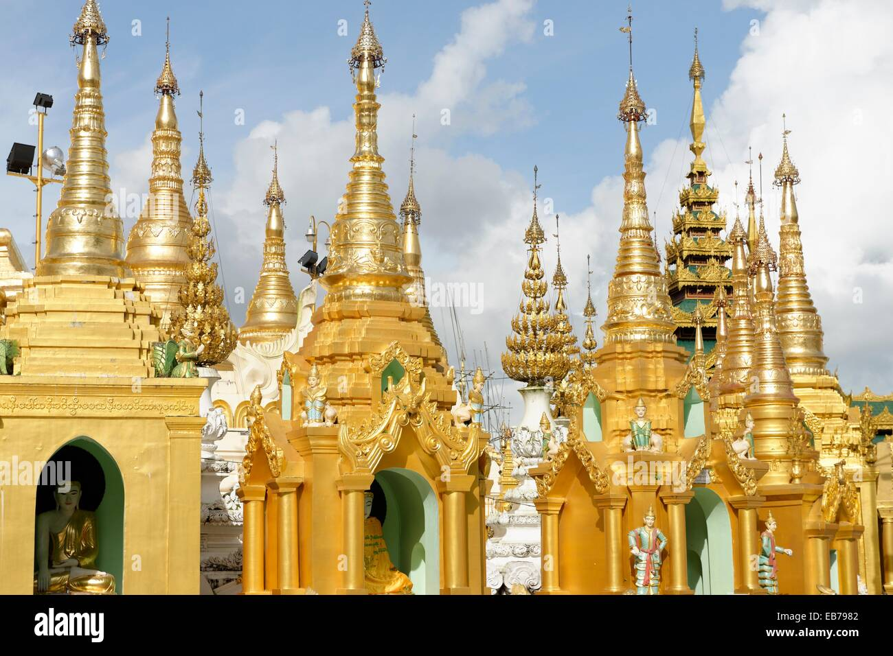 The Shwedagon Pagoda officially titled Shwedagon Zedi Daw also known as the Great Dagon Pagoda and the Golden Pagoda - Stock Image