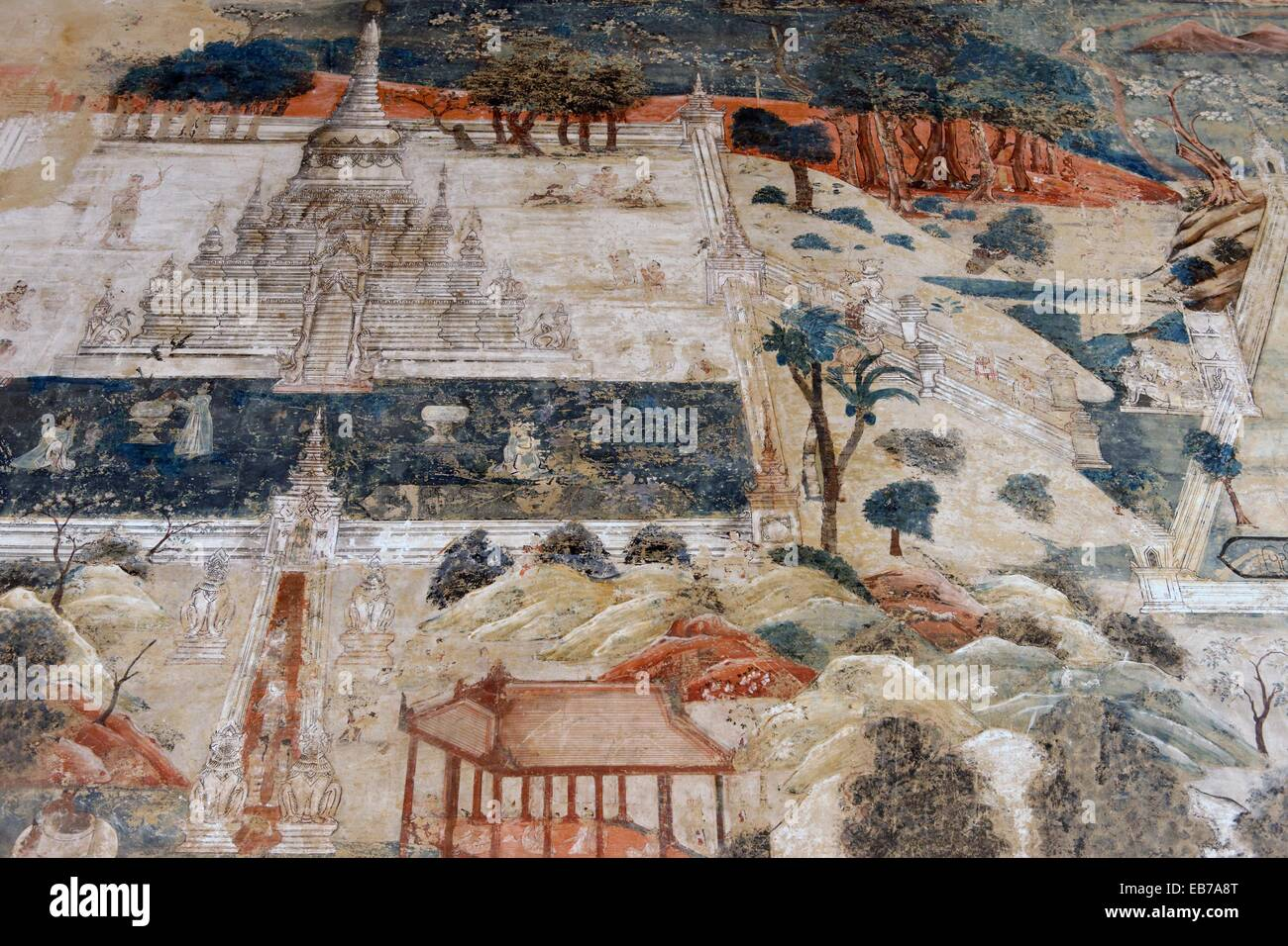 Frescoes depicting everyday scenes and illustrations of the zodiac  The Kyauktawgyi Pagoda was built by King Bagan - Stock Image