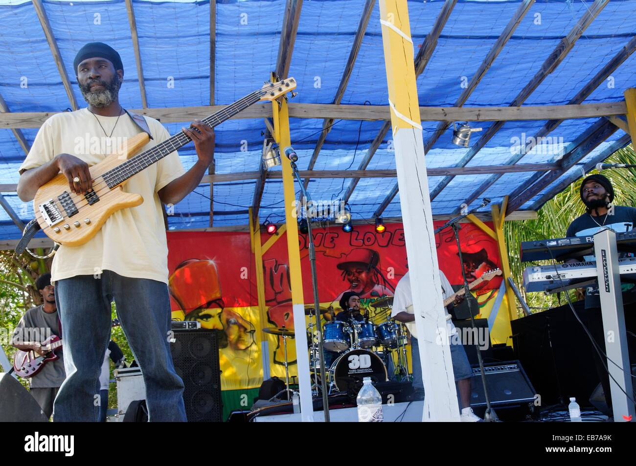 Reggae band  Great Harbour  At roughly 8 square kilometers and about 3 square miles Jost Van Dyke is the smallest - Stock Image