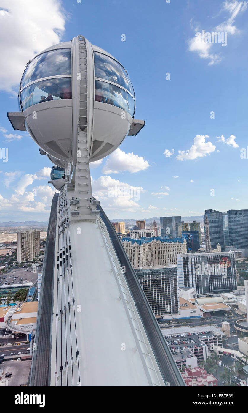 A view of resorts, hotels and casinos in Las Vegas, Nevada from high atop the High Roller Ferris Wheel. Stock Photo