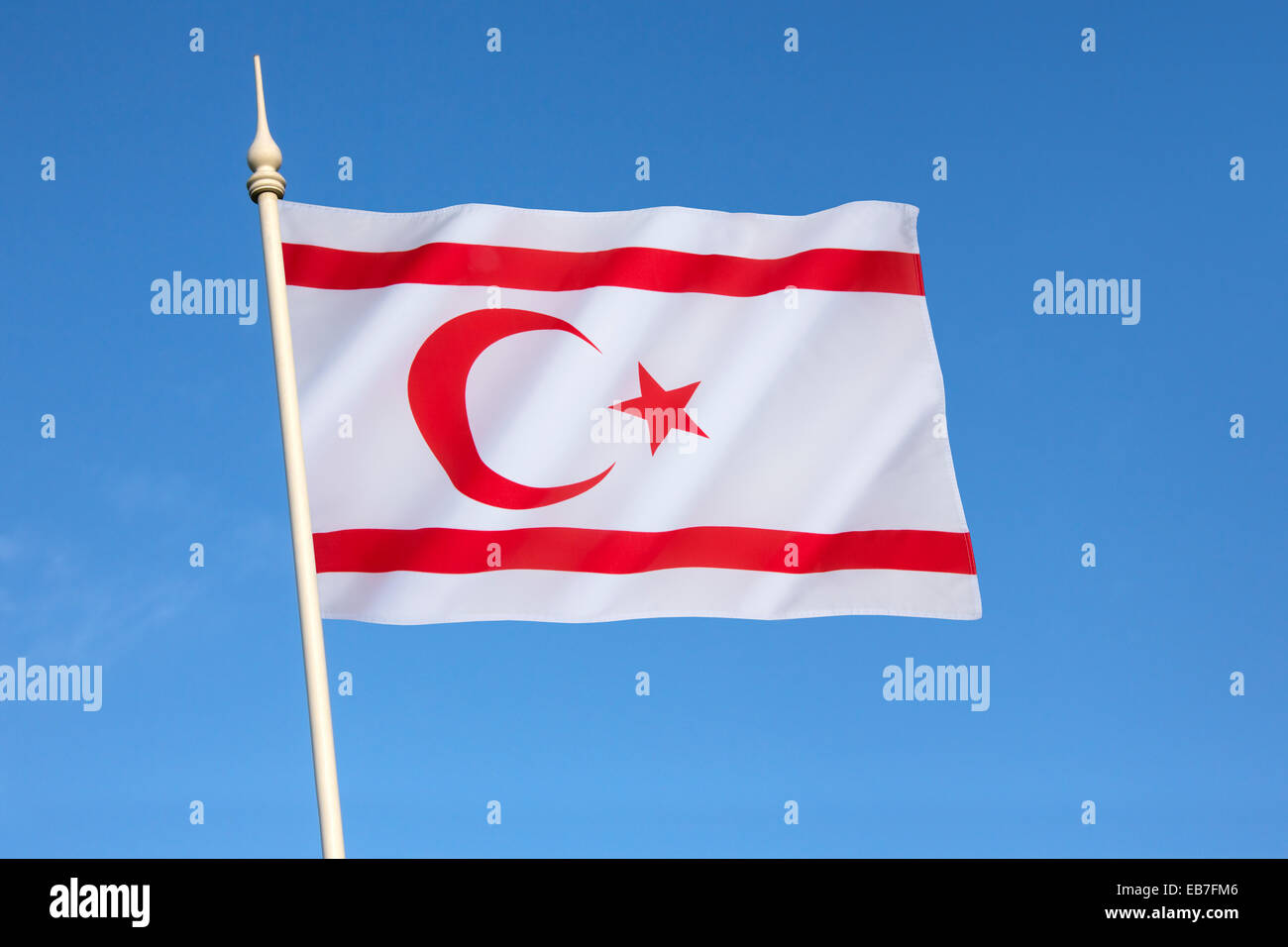 Flag of the Turkish Republic of Northern Cyprus - Stock Image