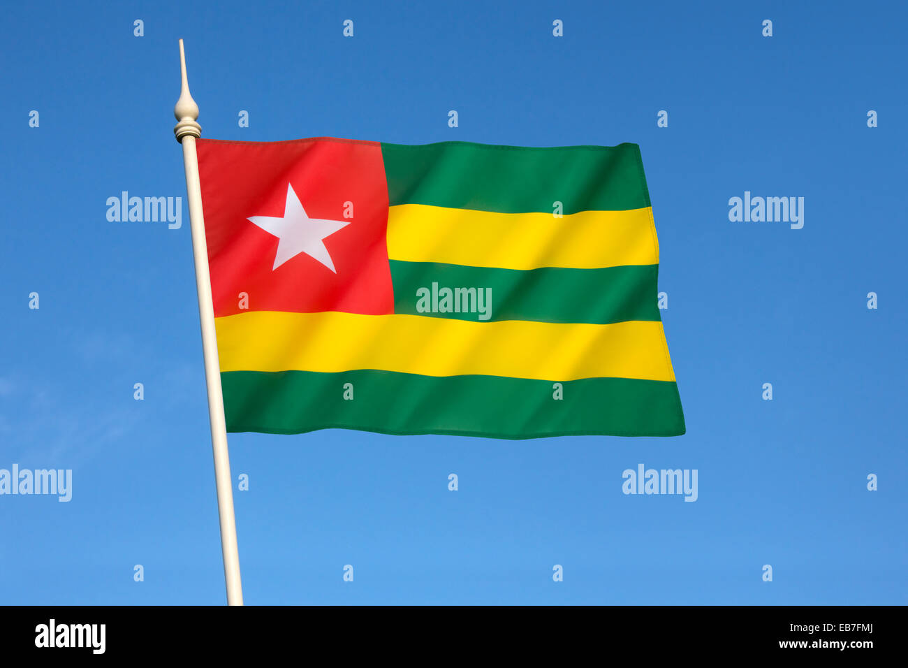 Flag of Togo - West Africa - Stock Image