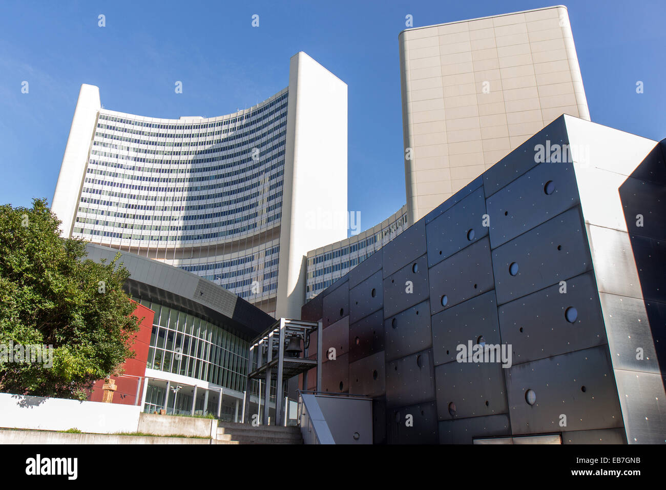 Austria: Vienna International Centre with IAEO towers (United Nations). Photo from 1. November 2014. - Stock Image