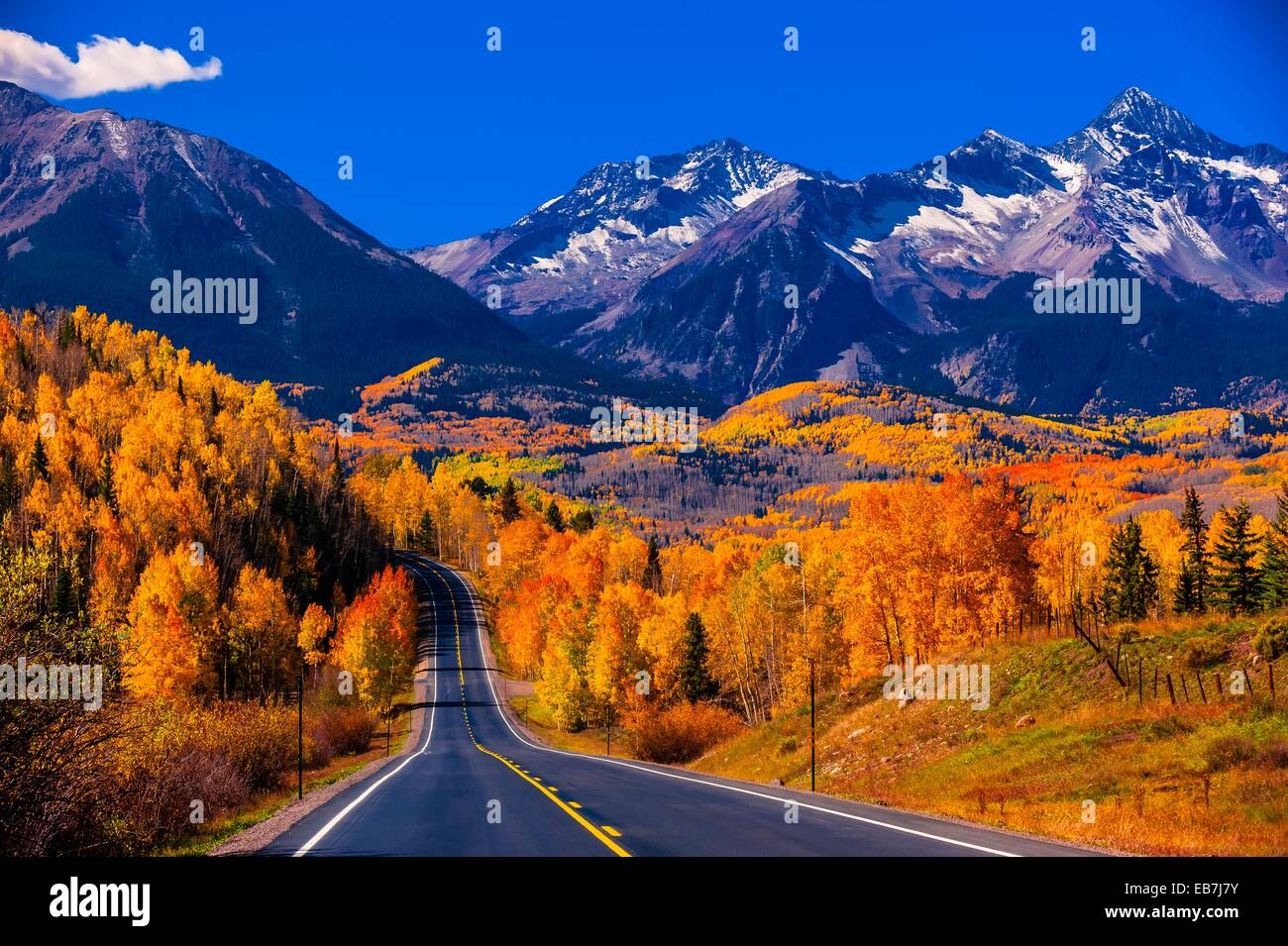 fall color colorado highway 145 in the san juan mountains near