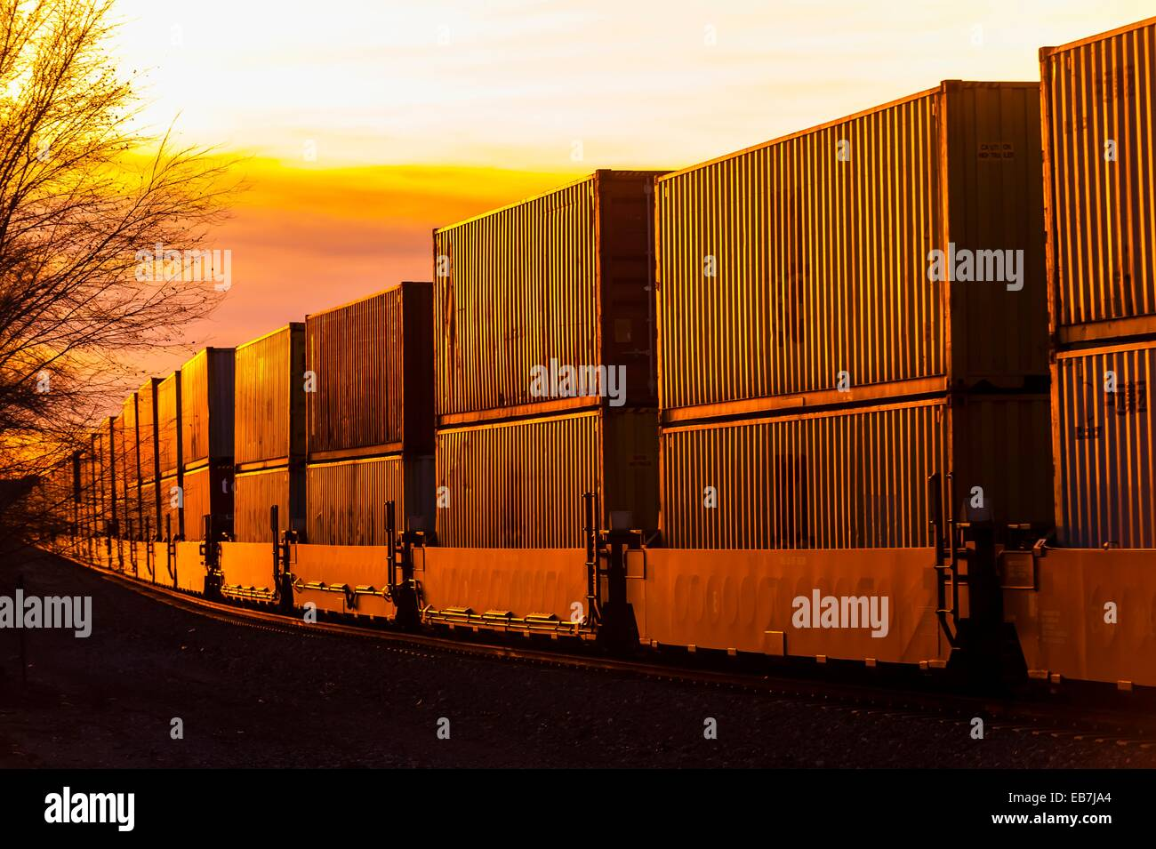 A freight train carrying contrainers, near Gallup, New Mexico USA - Stock Image