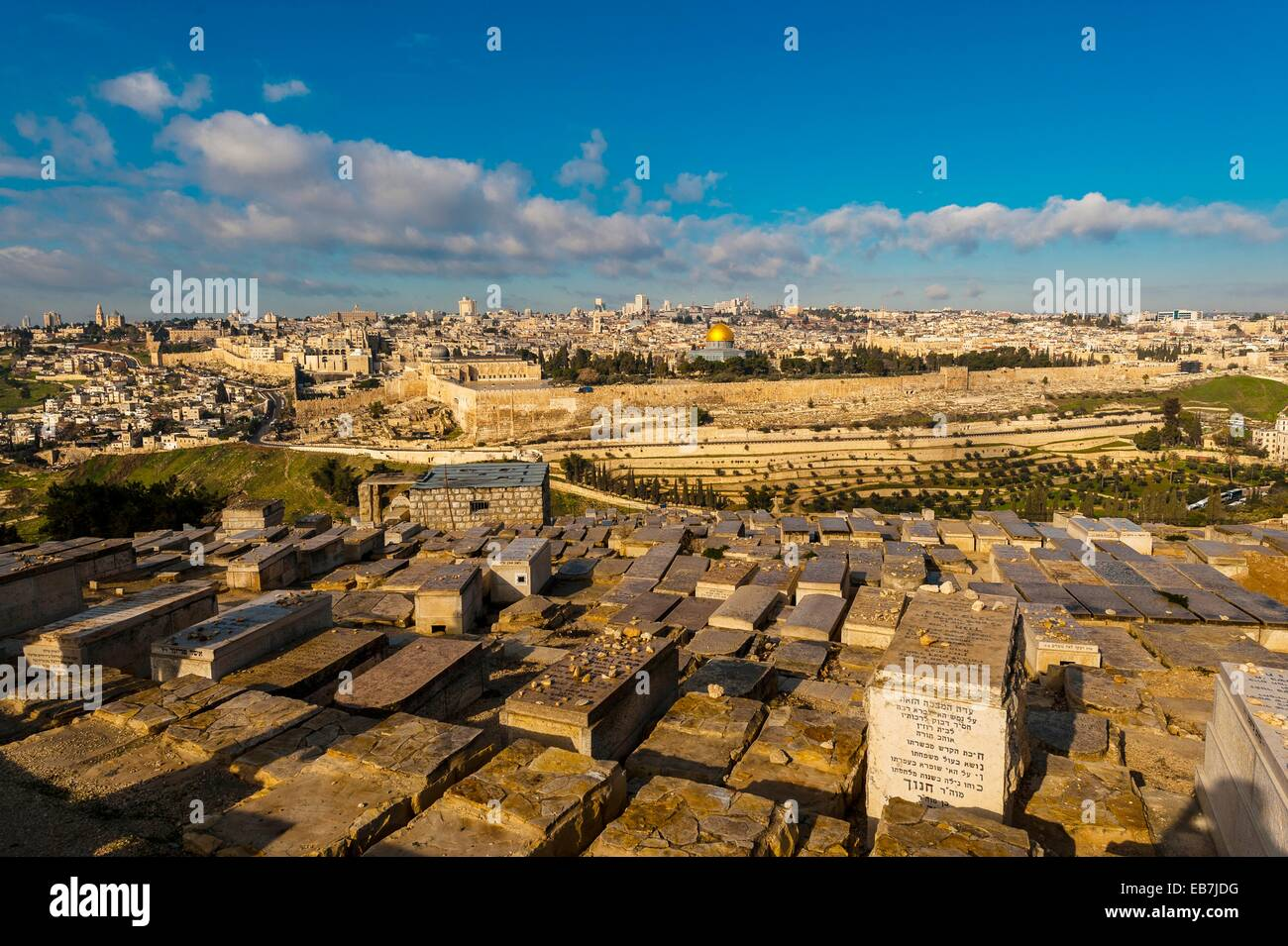 Gravestones 150,000 graves Jewish Cemetery on the Mount Olives with the Dome the Rock on the Temple Mount in background - Stock Image