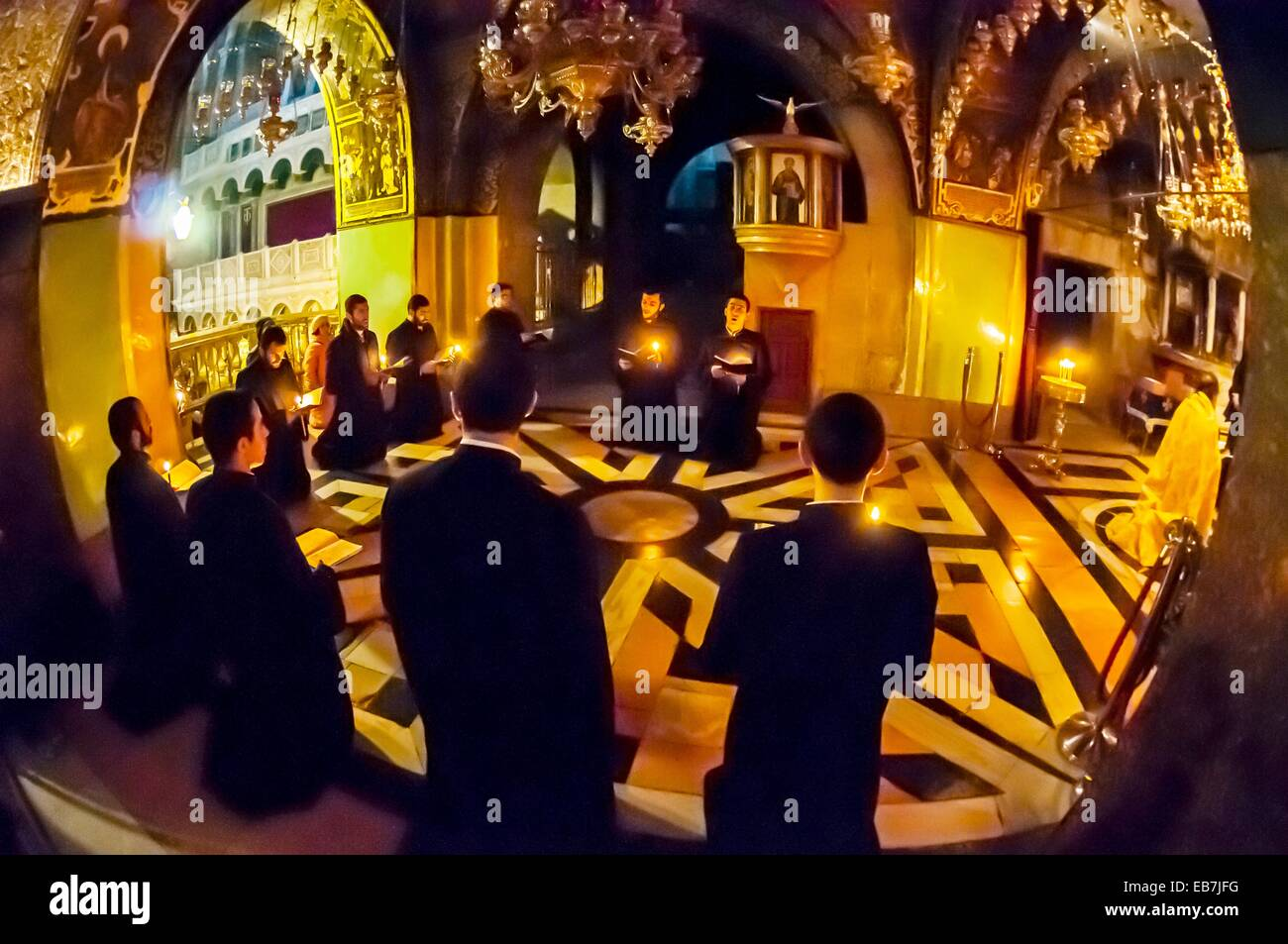 An Armenian Orthodox mass Church the Holy Sepulchre site the last five stations the Cross and venerated as the place Stock Photo