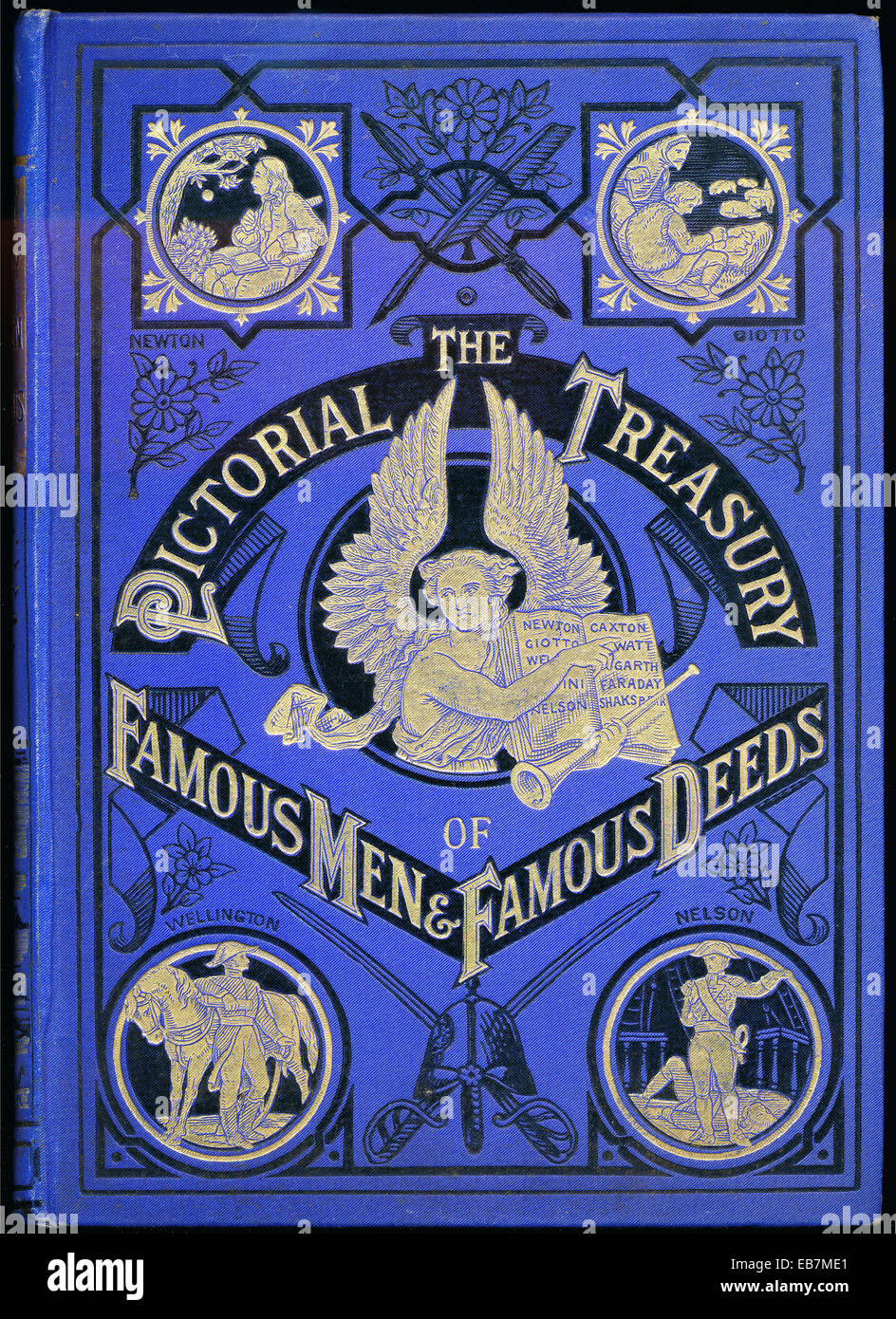 Book title, The pictorial Treasury of famous Men and famous deeds, 1890, Buchtitel, The pictorial Treasury of famous - Stock Image