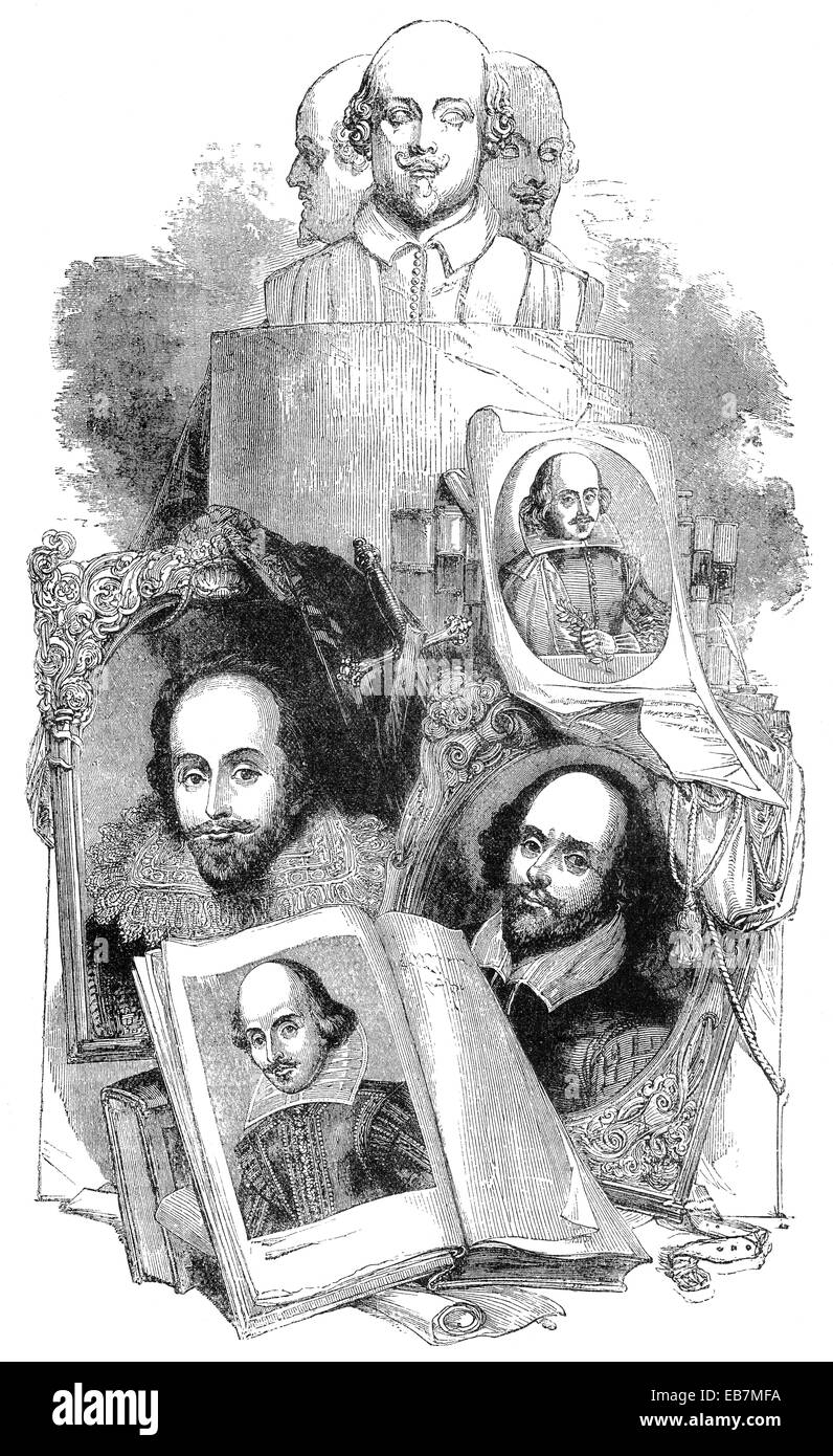 William Shakespeare, 1564 - 1616, an English playwright, poet and actor, William Shakespeare, 1564 - 1616, ein englischer - Stock Image