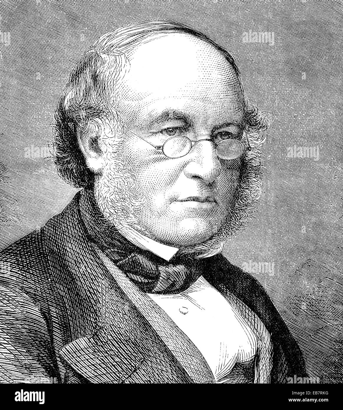 Sir Rowland Hill, 1795 - 1879, an English teacher, inventor and social reformer, reformer of the postal system, - Stock Image