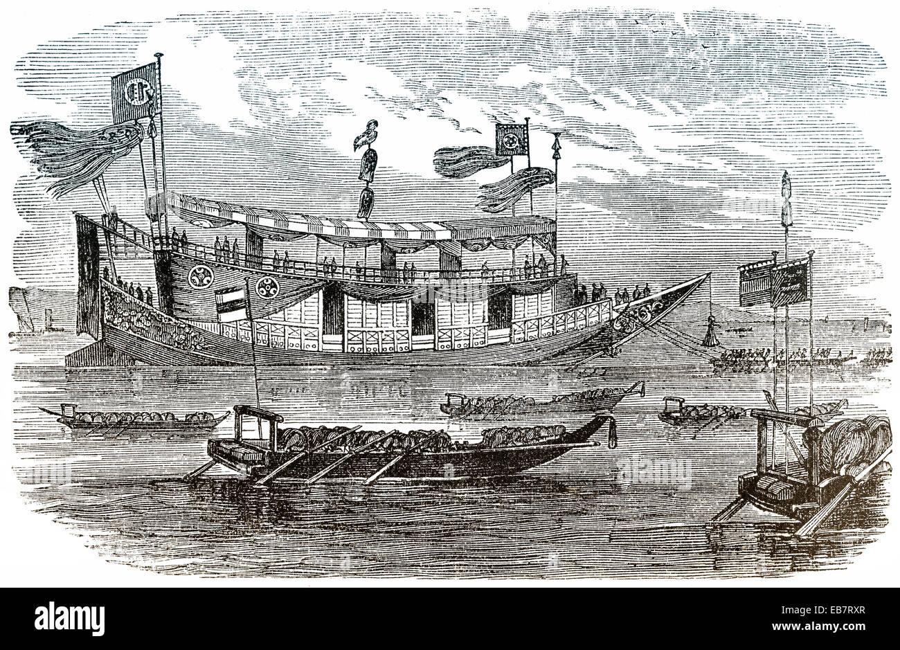 japanese royal barge, japanische königliche Barke - Stock Image