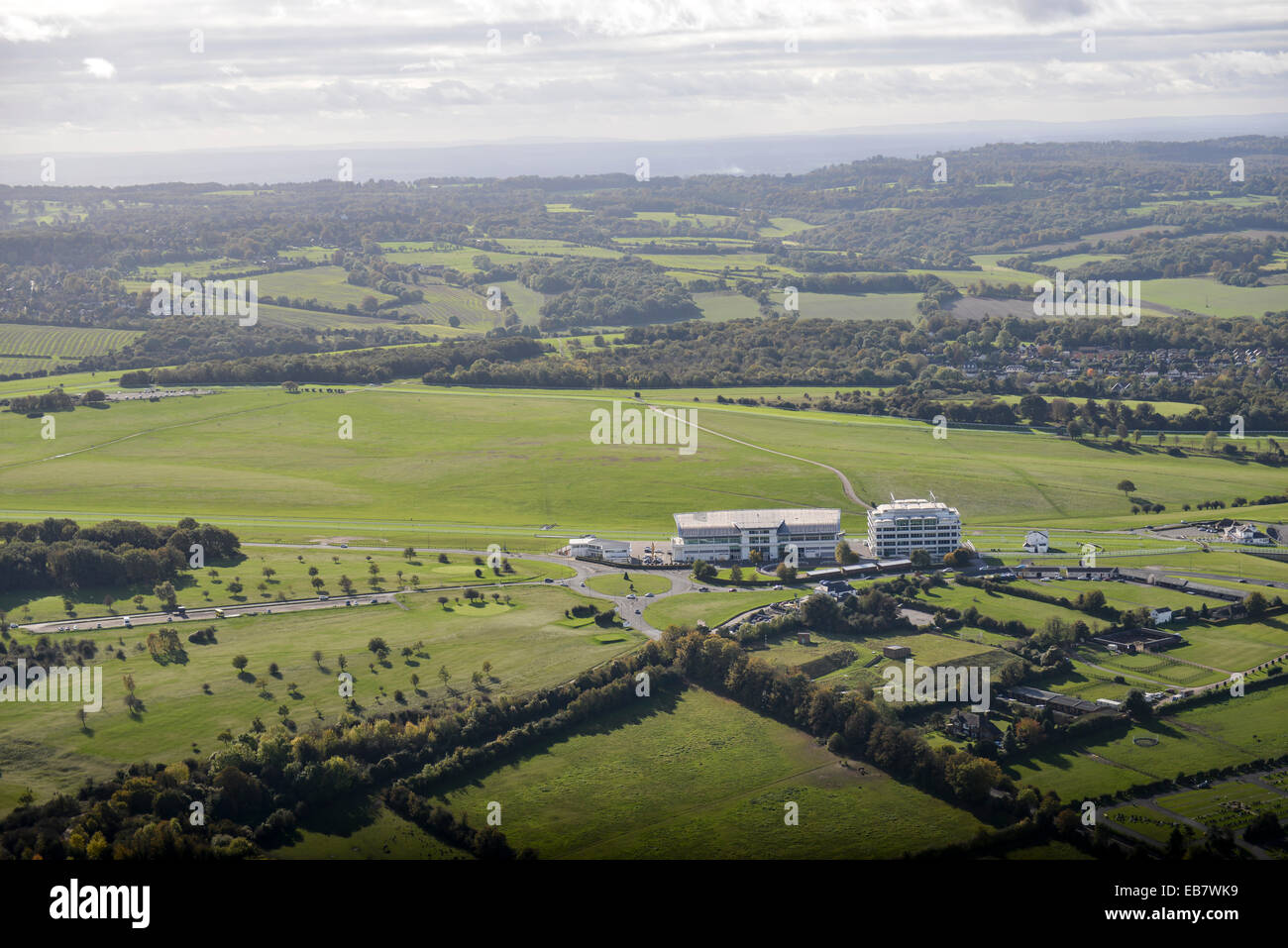 An aerial view of Epsom Downs racecourse and the countryside beyond. Stock Photo