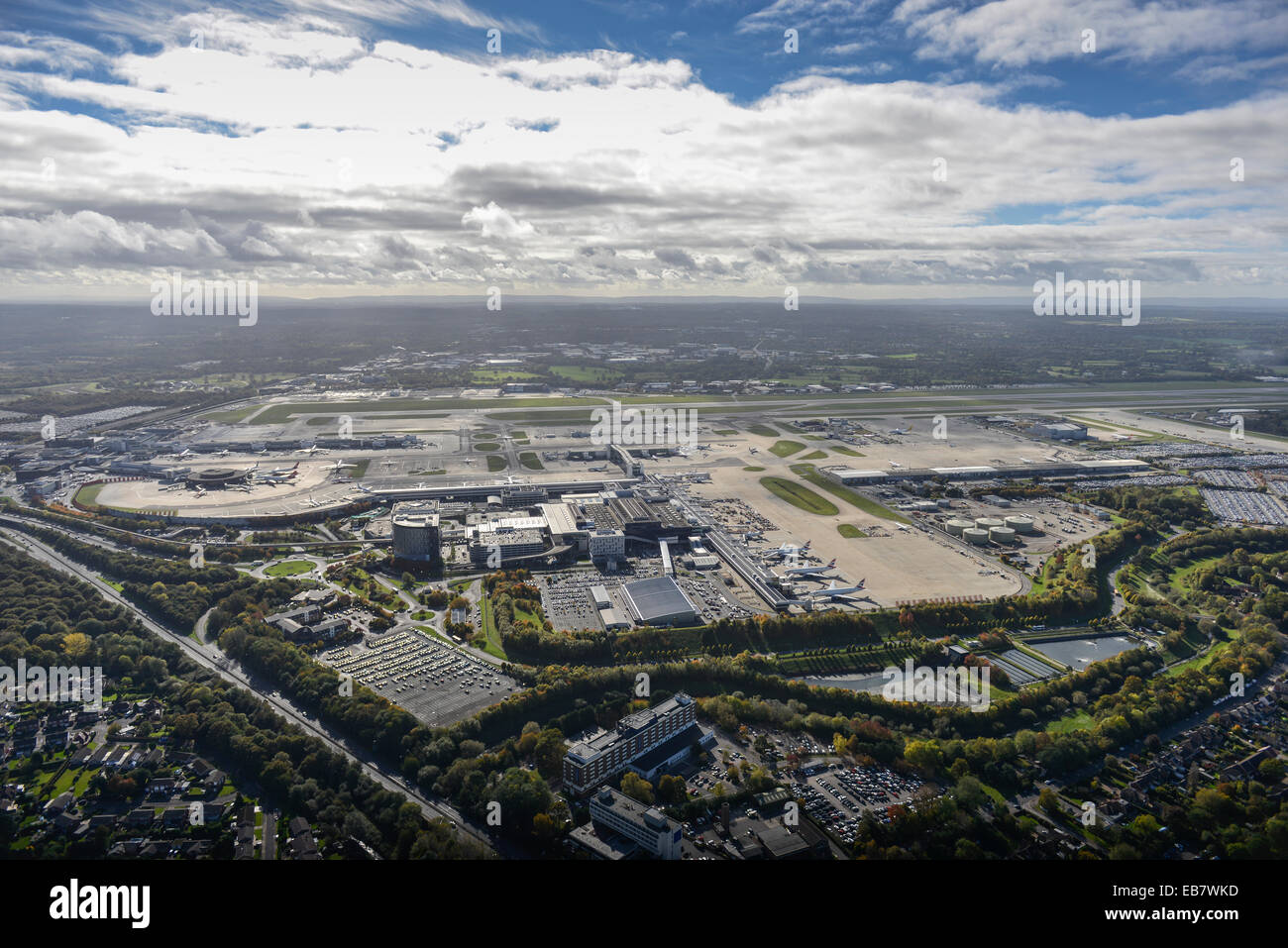 An aerial view of Gatwick Airport, Sussex, UK - Stock Image