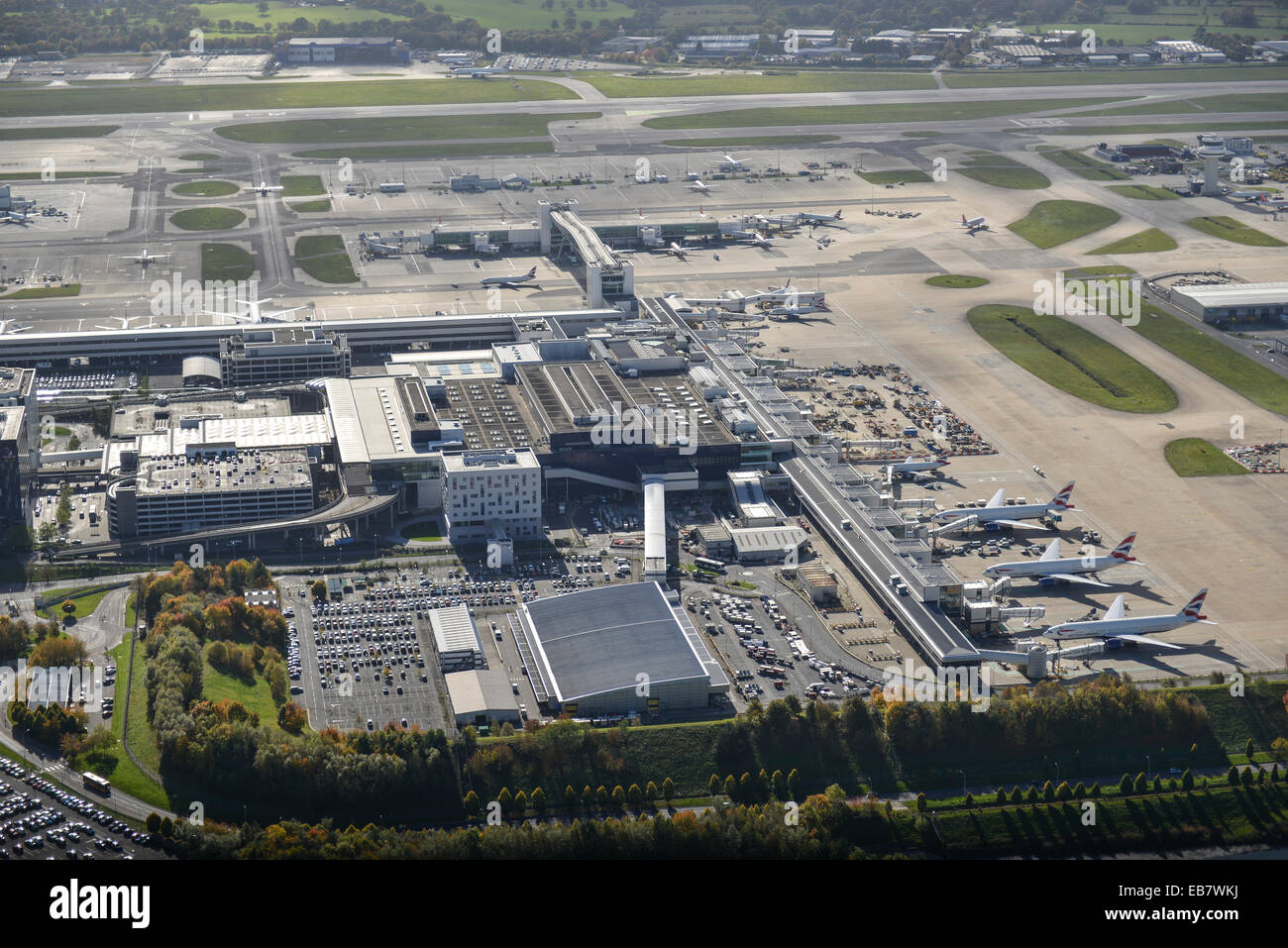 An aerial view of Gatwick Aiport North Terminal - Stock Image