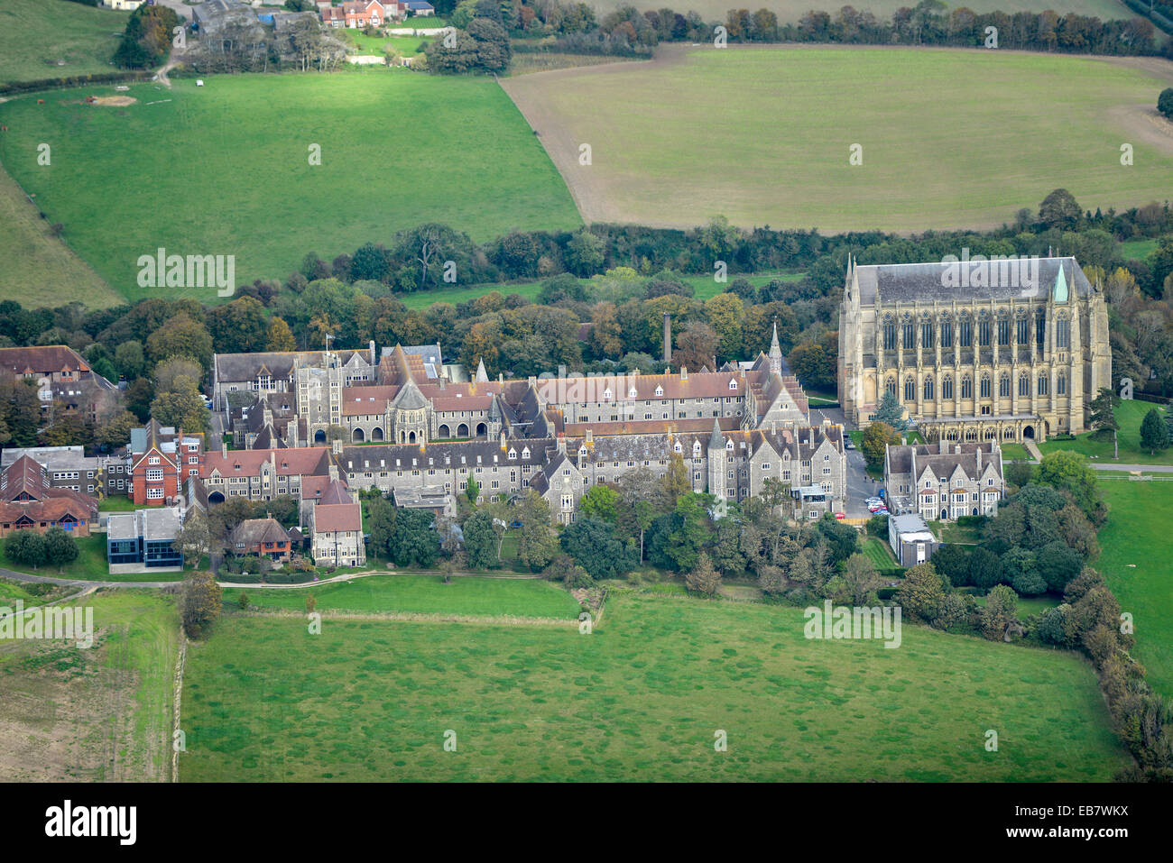 An aerial view of Lancing College, an independent boarding and day school in Sussex - Stock Image