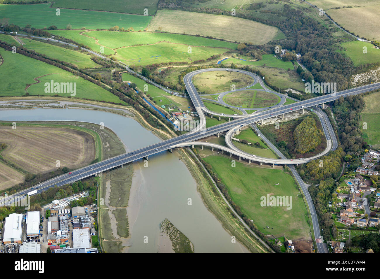 An aerial view of the a road junction on the A27 Shoreham Bypass. - Stock Image