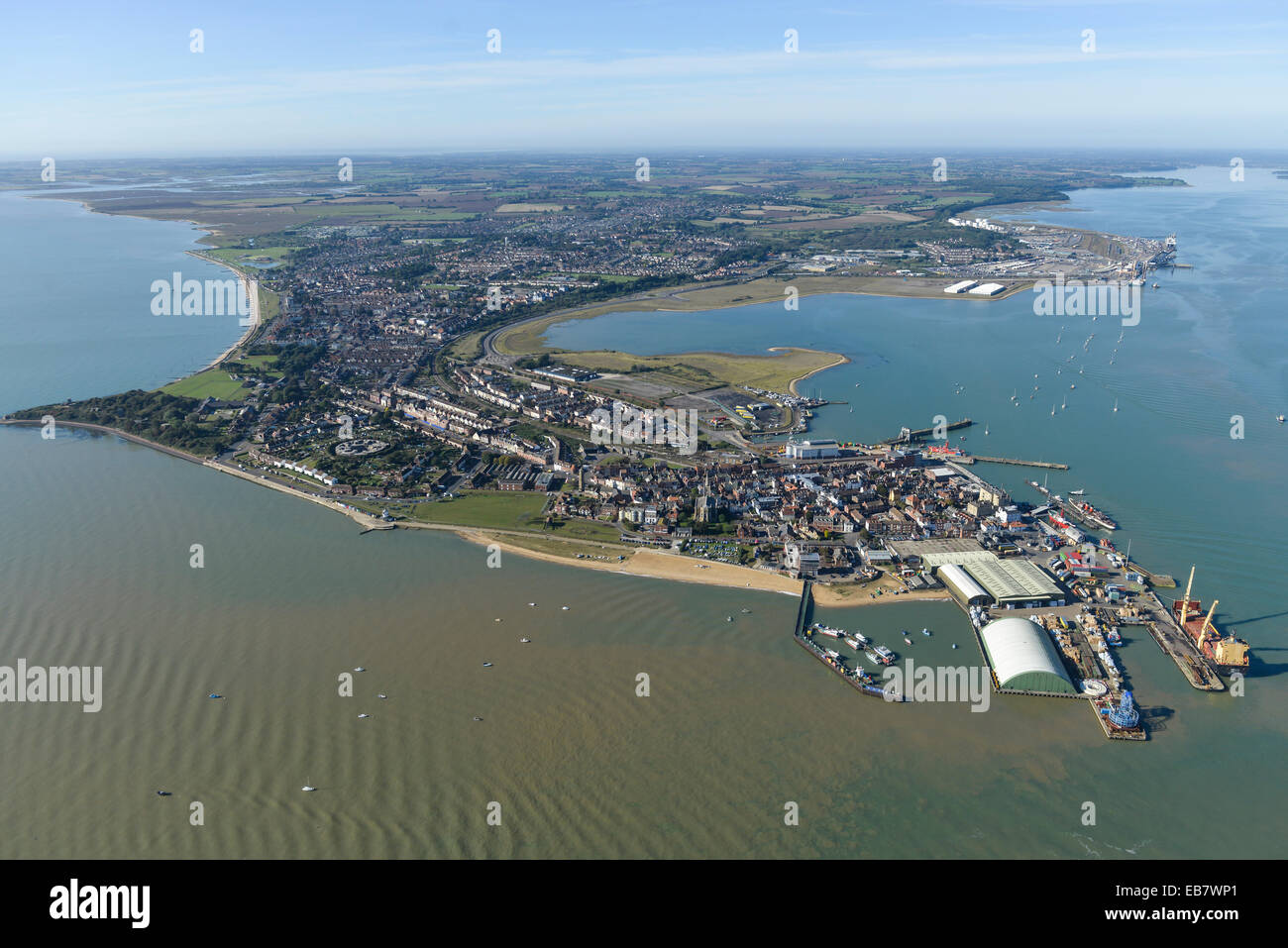 An aerial view of the Essex town of Harwich on a clear sunny day - Stock Image