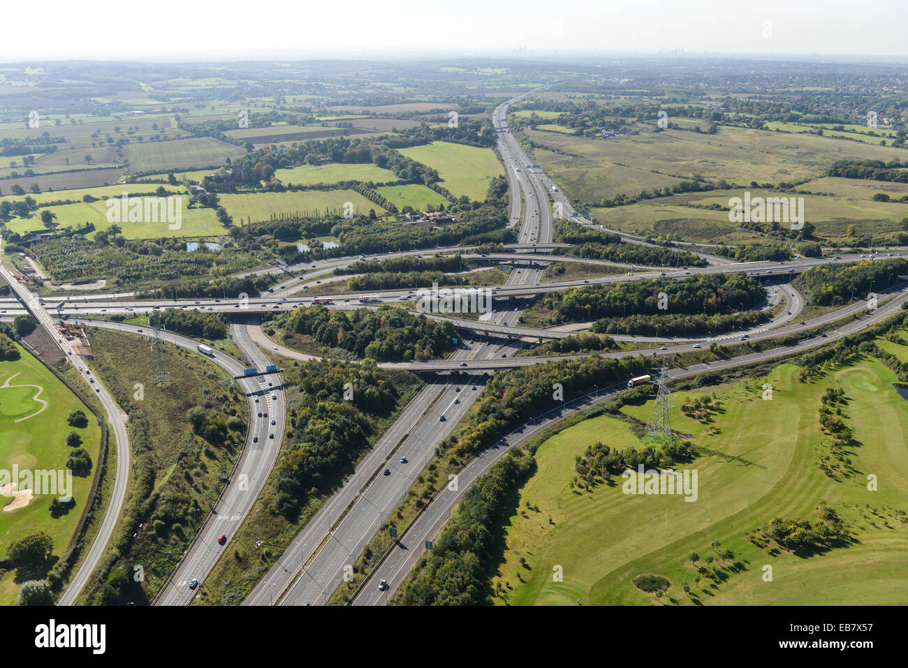 An aerial view of the junction where the M11 and M25 meet in Essex - Stock Image