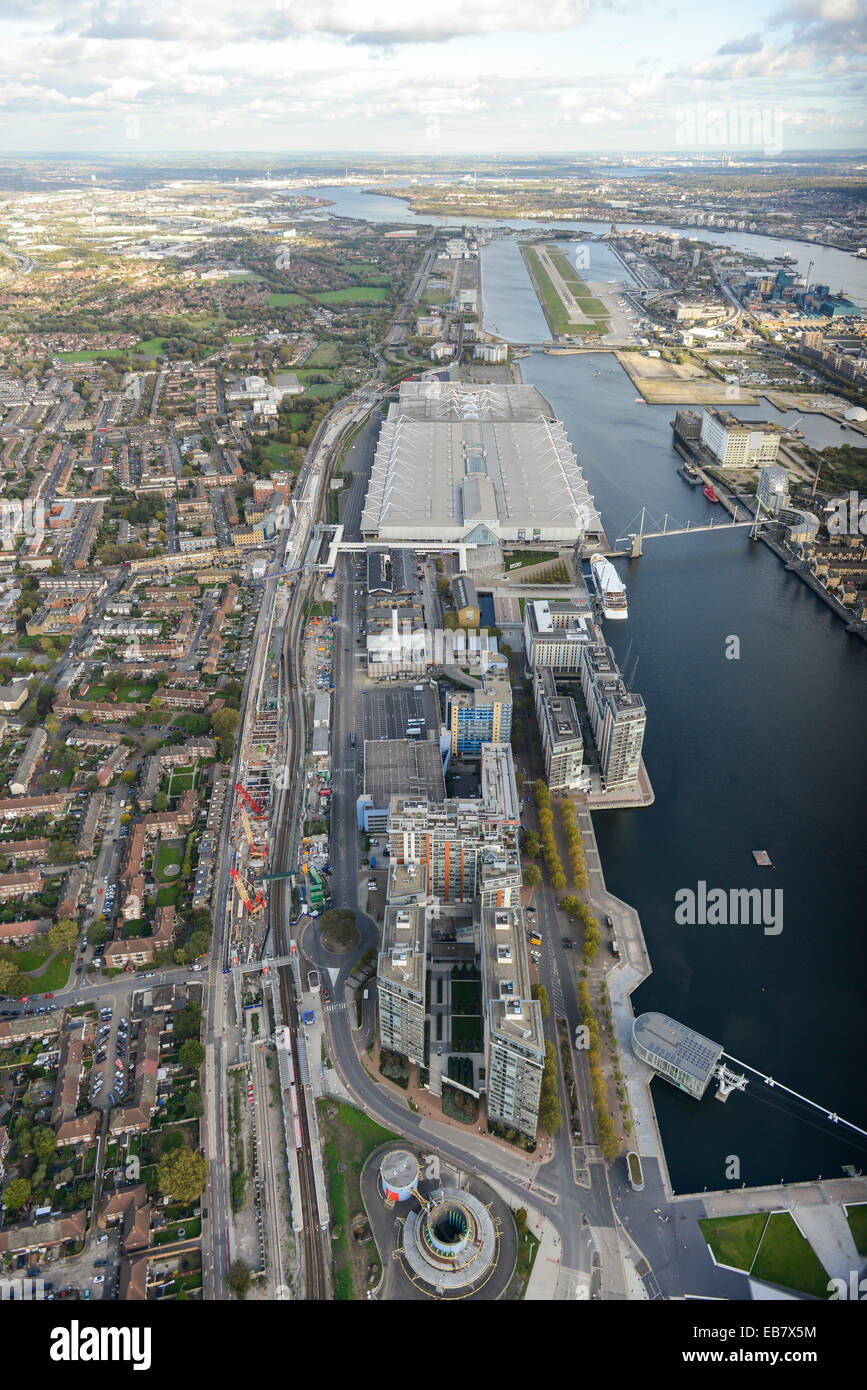 An aerial view looking away from London showing London City Airport and Excel London - Stock Image