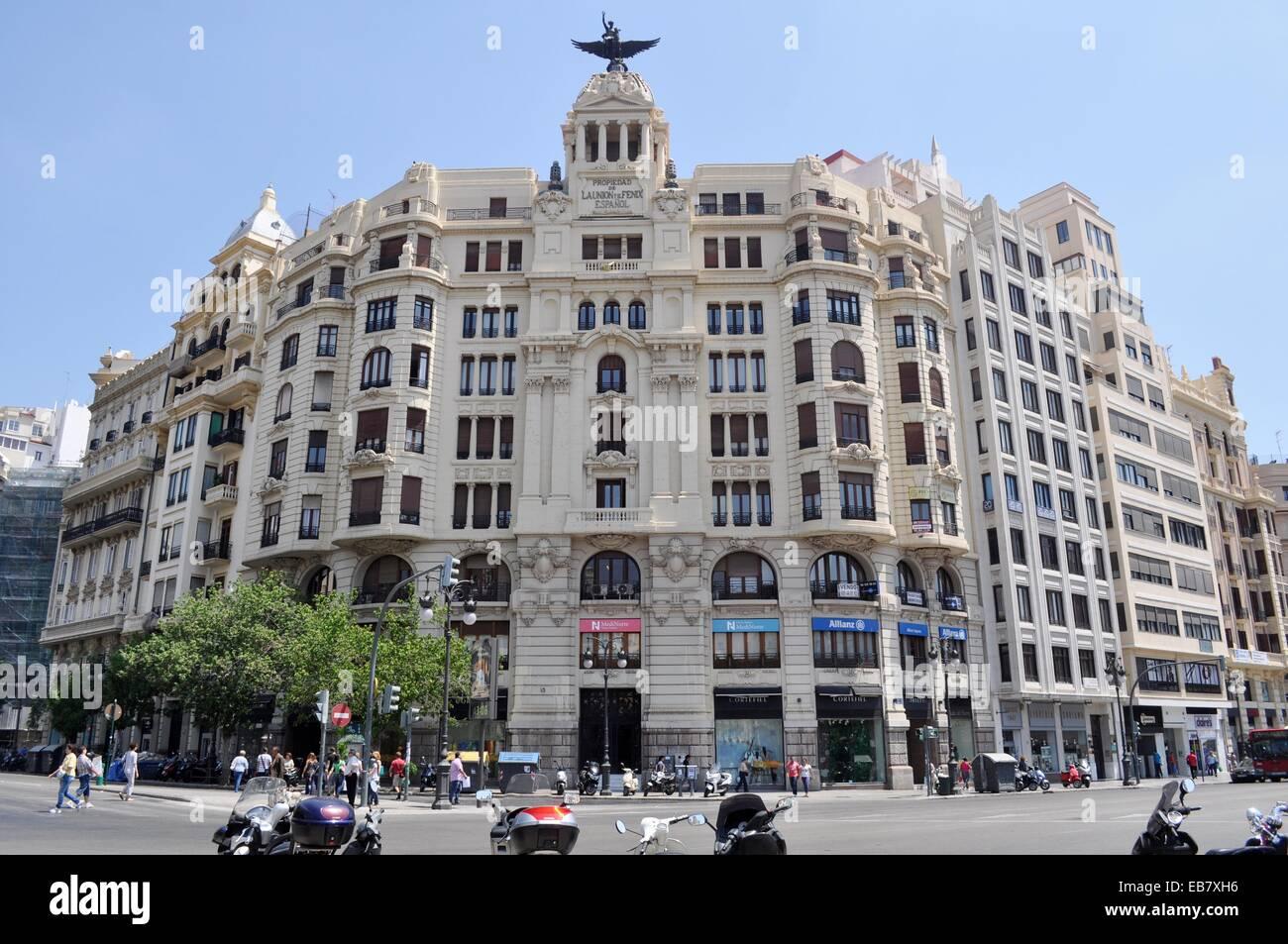 Valencia, Spain: Edificio La Union y El Fénix Español building 1929, designed by Viedma Enrique Vidal - Stock Image