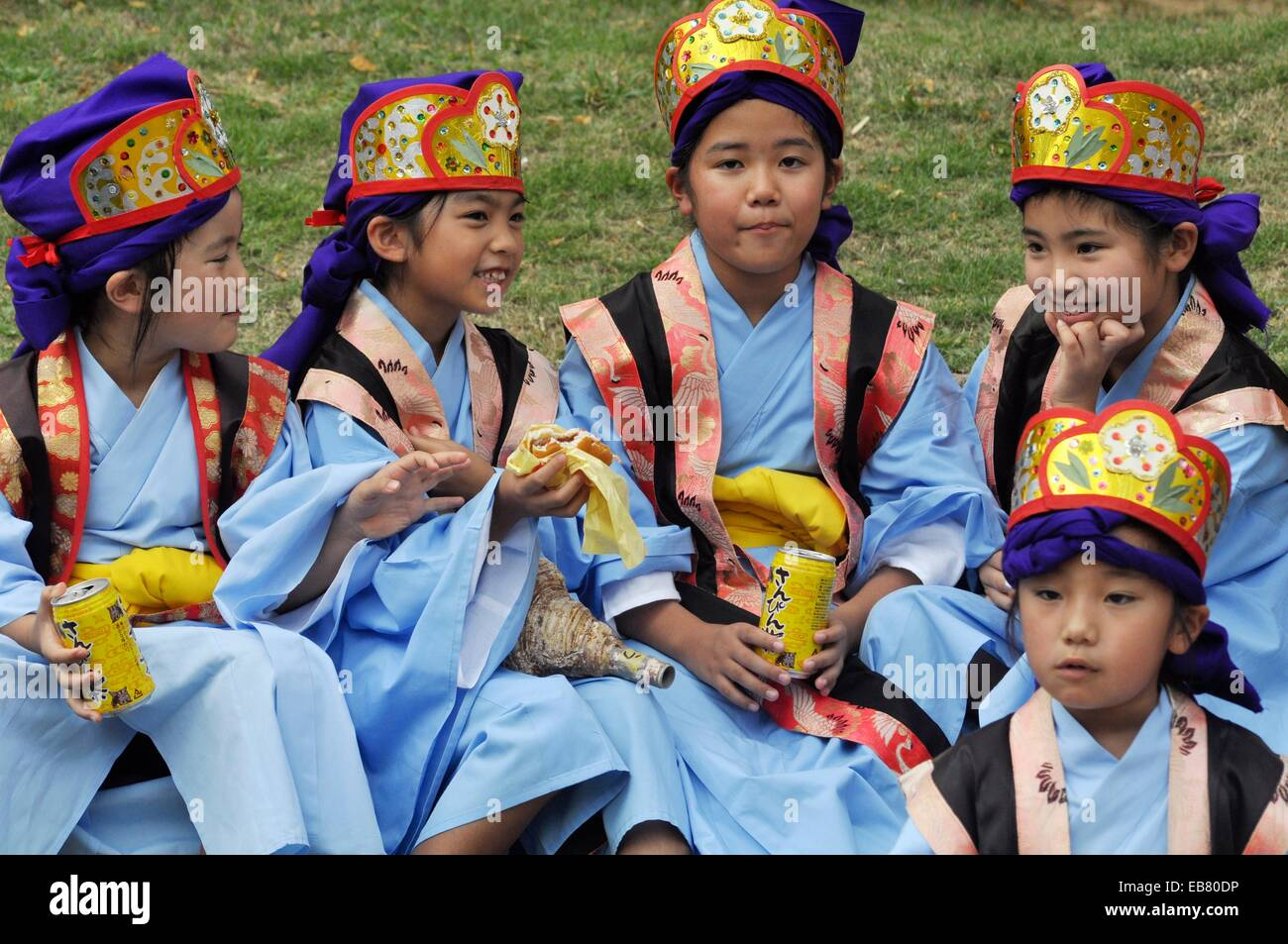 naha okinawa japan children in traditional okinawan outfit during