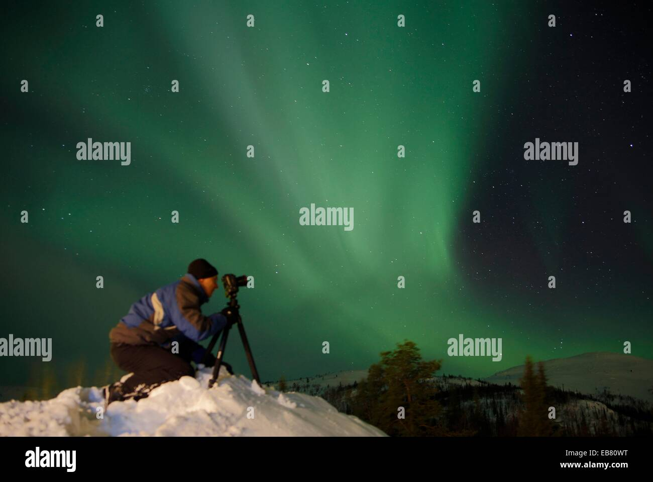 Northern lights Aurora borealis Gällivare Lappland Sweden. - Stock Image