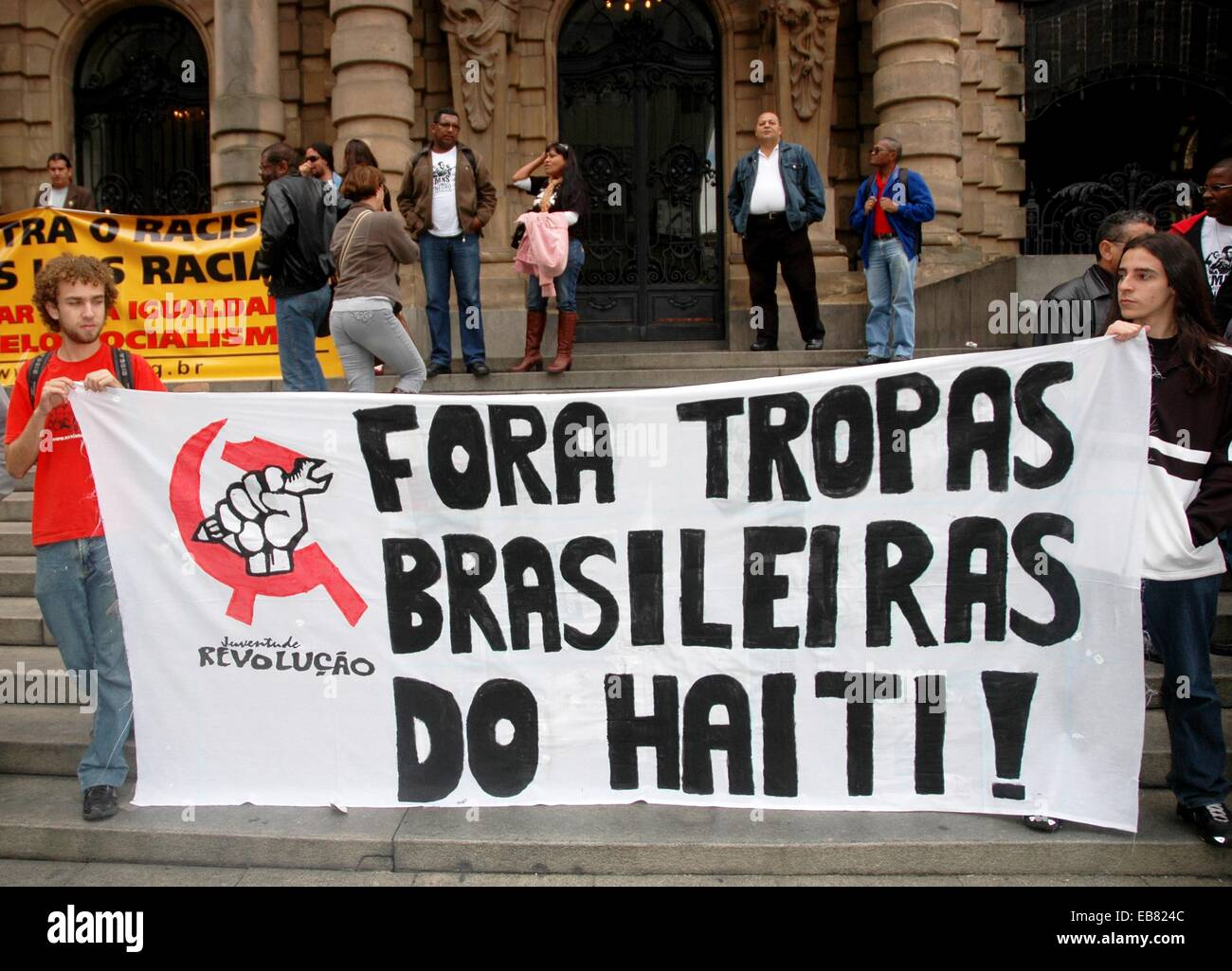 São Paulo Brazil young Communists protesting against the presence of Brazialin troops in Haiti in front of - Stock Image
