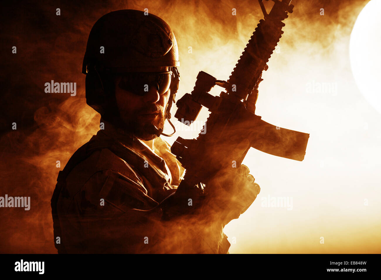 Bearded special forces soldier - Stock Image