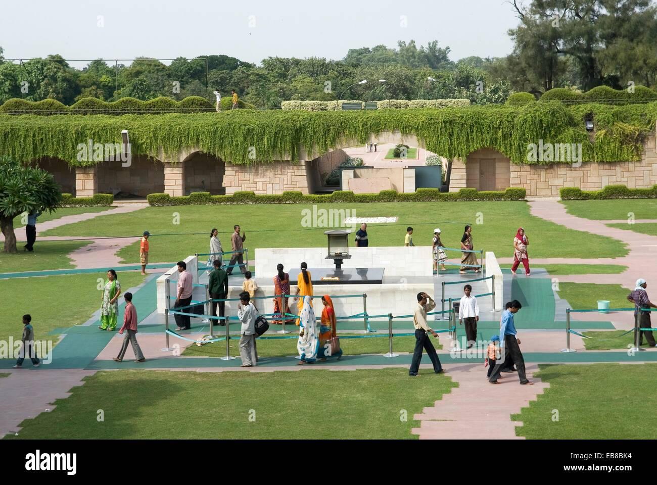 Raj Ghat, memorial to Mahatma Gandhi, Old Delhi, India, Asia - Stock Image