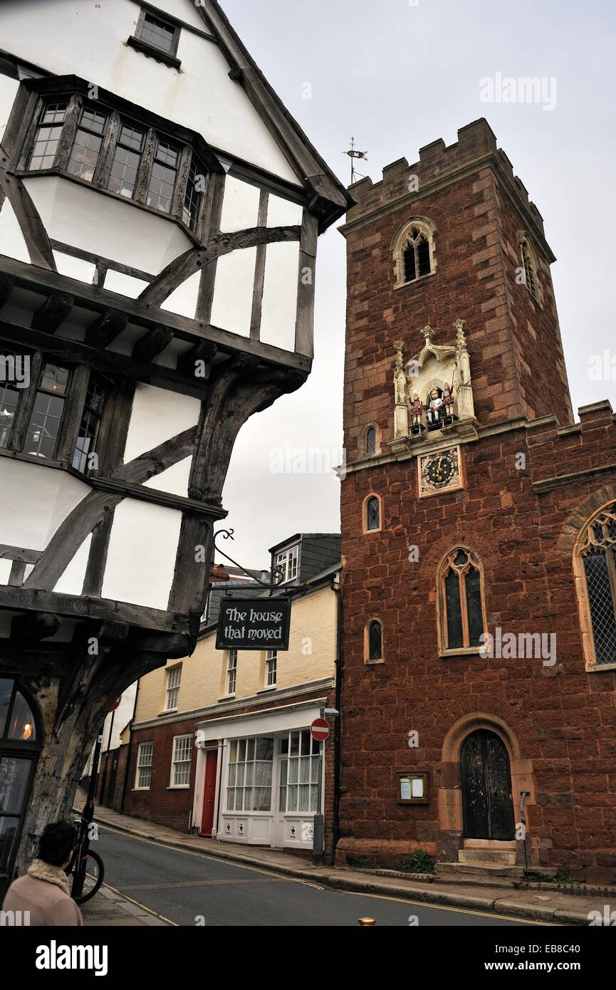 Tudor style The House that moved and St Mary Steps Church, Exeter, Devon county, England, United Kingdom, Europe. - Stock Image