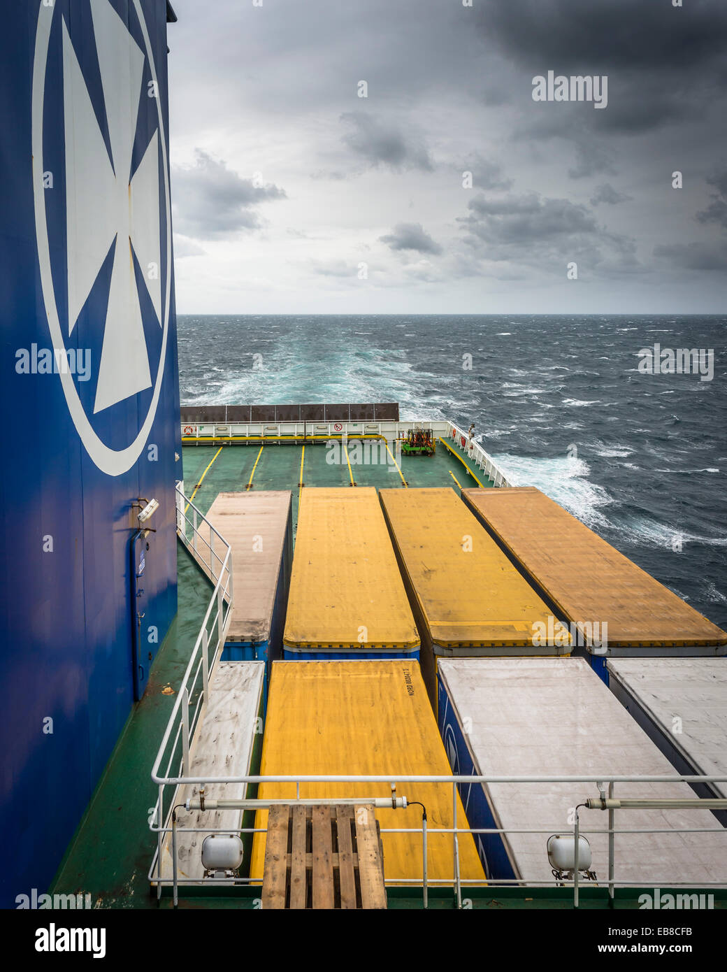Freight containers on the DFDS freighter Ficaria Seaways, on the route from Immingham to Brevik in Norway and the Stock Photo