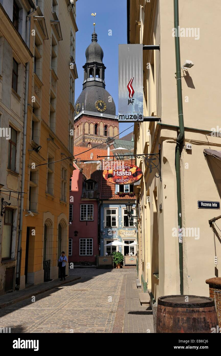 1221 restaurant in Jauniela street with the Dome Cathedral tower bell background, Riga, Latvia, Baltic region, Northern - Stock Image