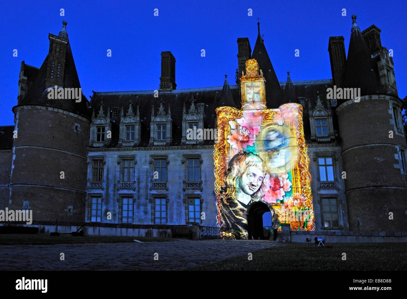 video art projection titled Madame de Maintenon or the Shadow Sun by French artist Xavier de Richemont at Chateau - Stock Image