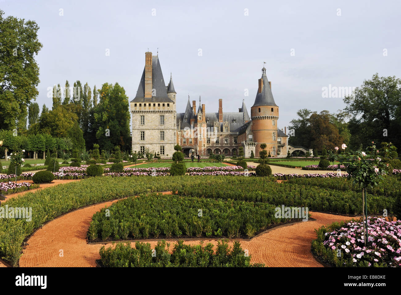 French formal garden style laid out by the master gardener Patrick Pottier according to the plans Andre Le Notre - Stock Image