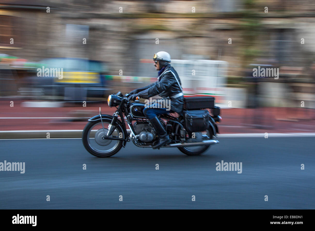 French gendarme riding BMW R50 motorcycle at Embouteillage de la Route Nationale 7, happening for oldtimers, Lapalisse, - Stock Image