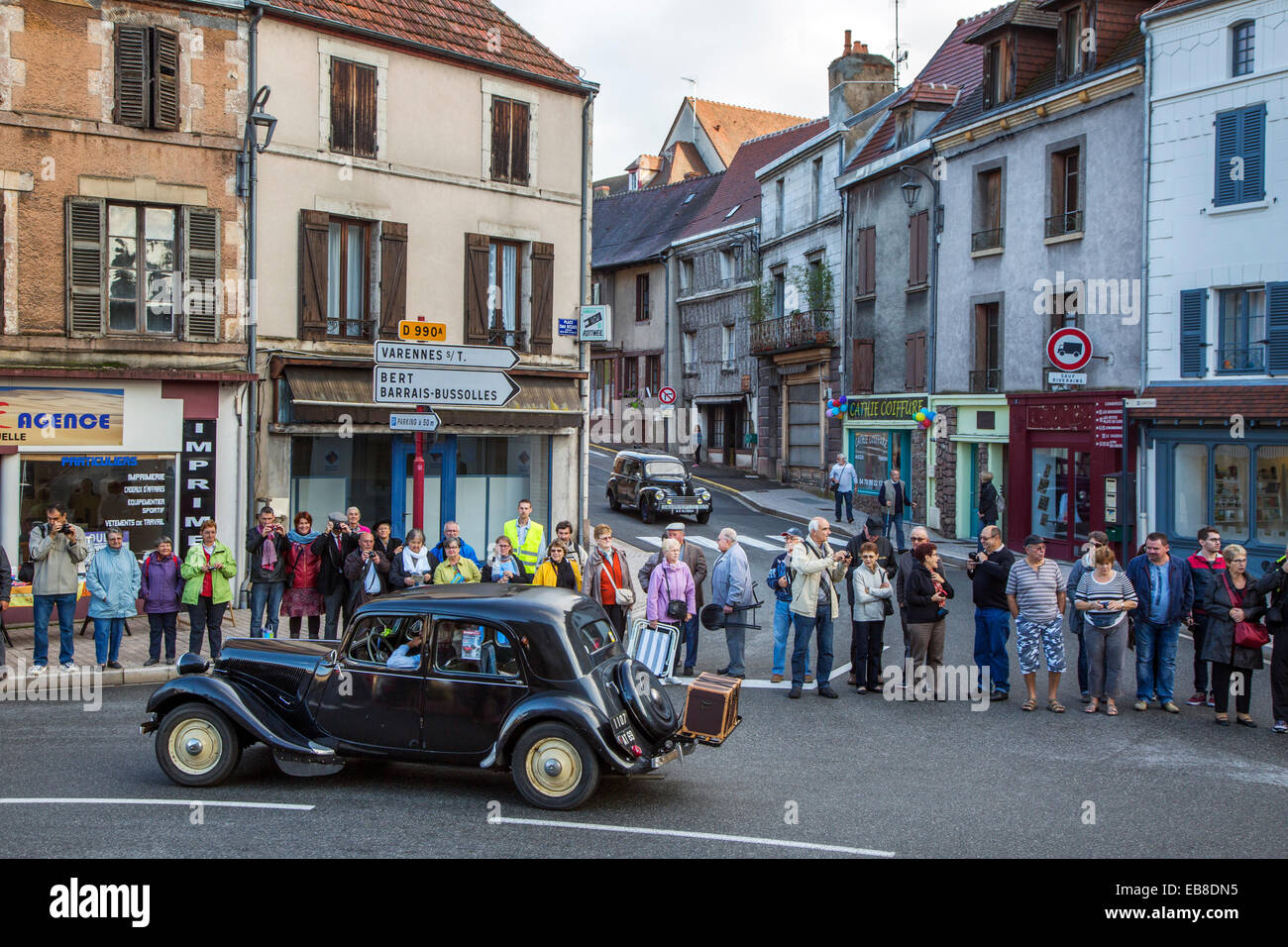 Antique cars during the Embouteillage de la Route Nationale 7, happening for oldtimers at Lapalisse, France - Stock Image