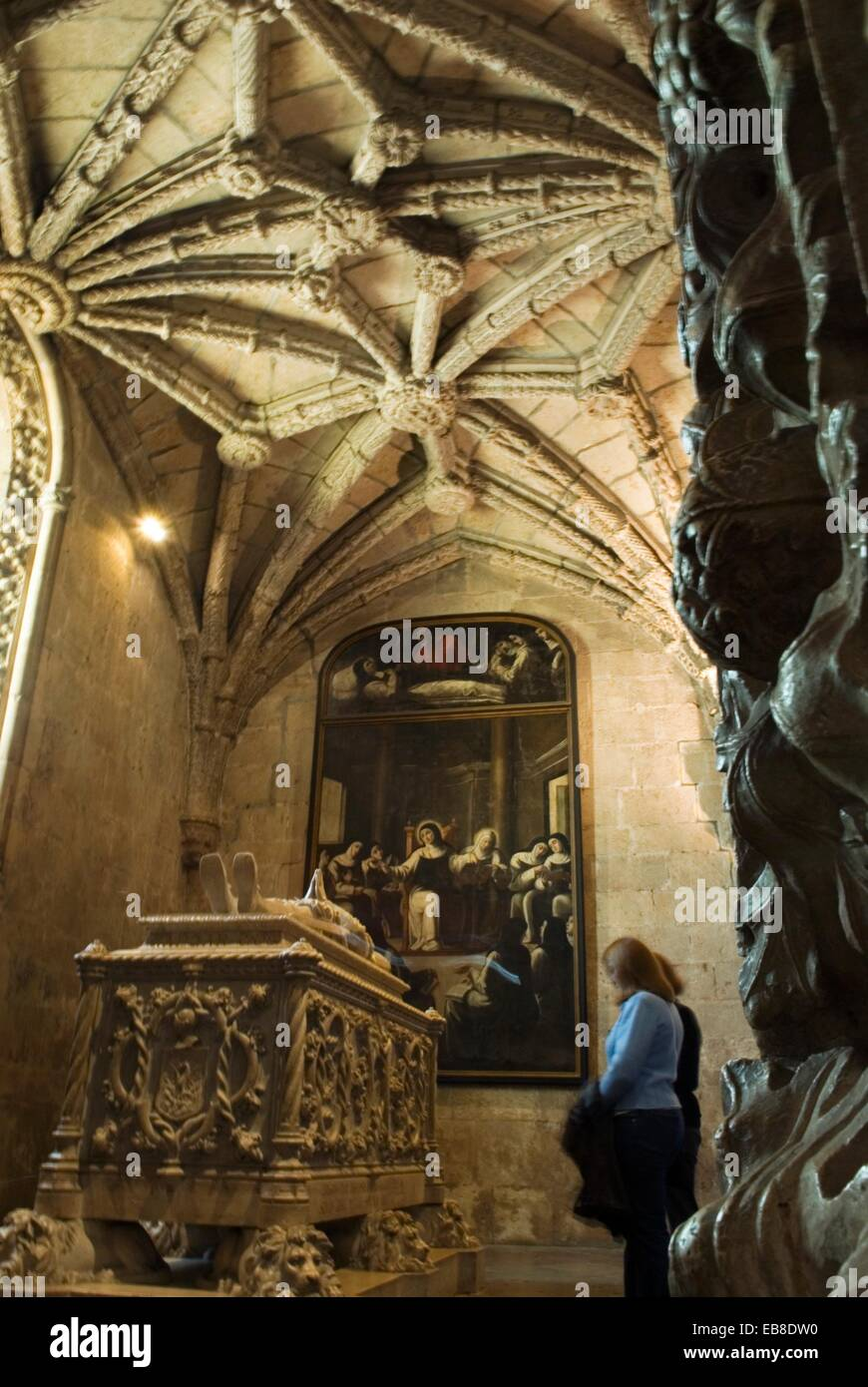 tomb of Luis Camoes in a lower choir within tha Church of Santa Maria, Jeronimos Monastery, lisbon, portugal, europe - Stock Image