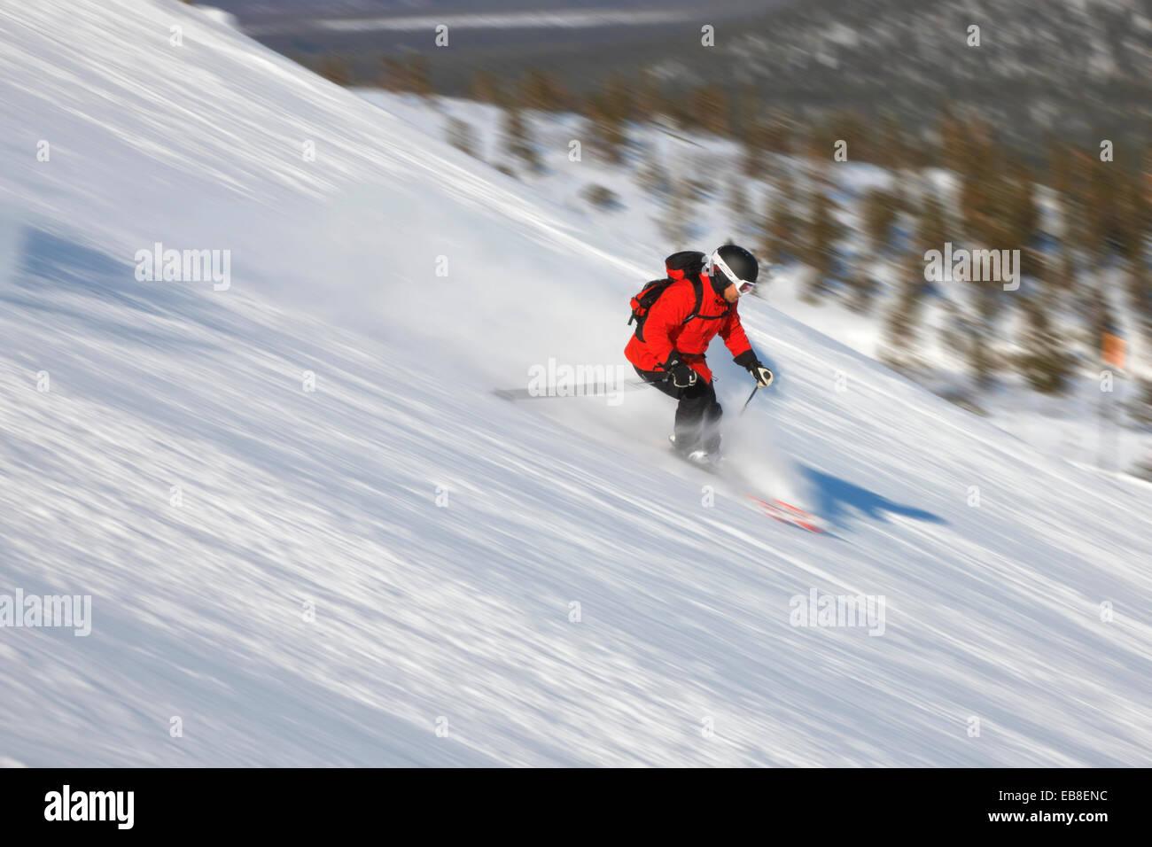 Skier downhill, winter Lapland - Stock Image