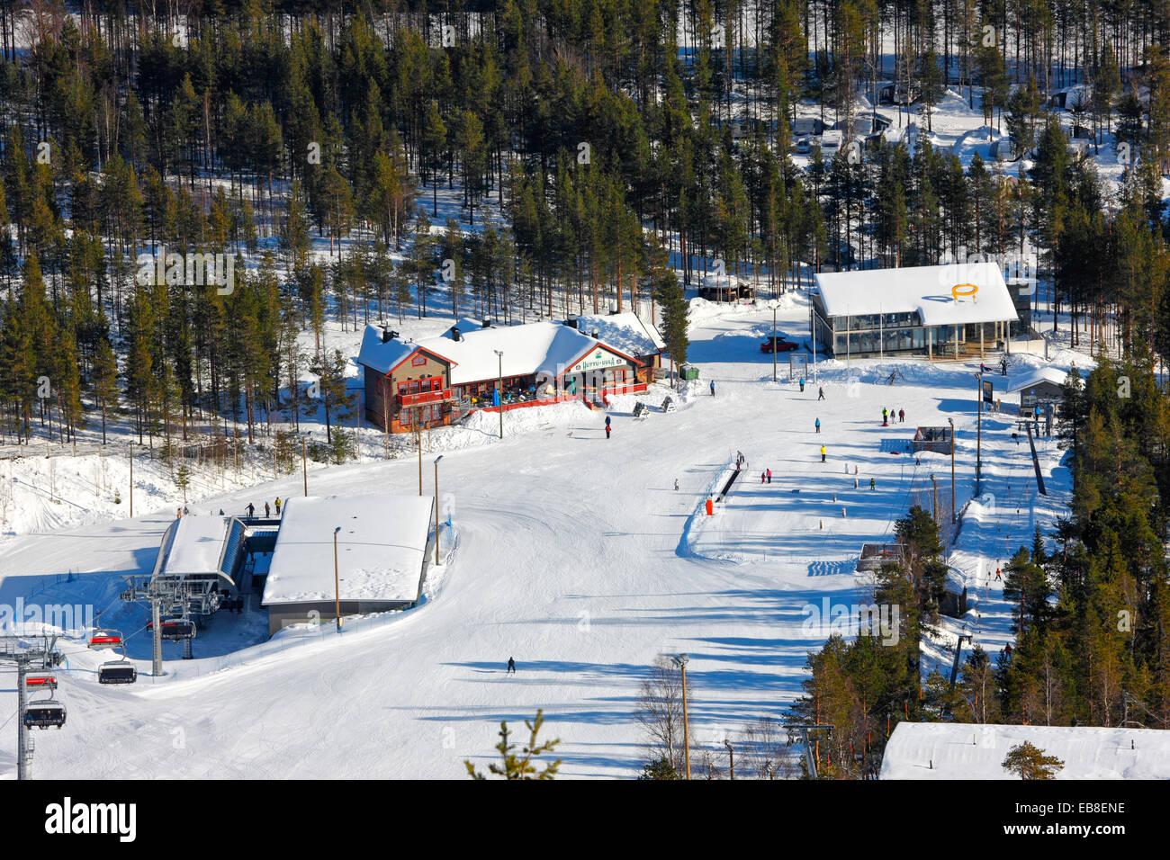 Finland ski center Pyhä, Lapland - Stock Image