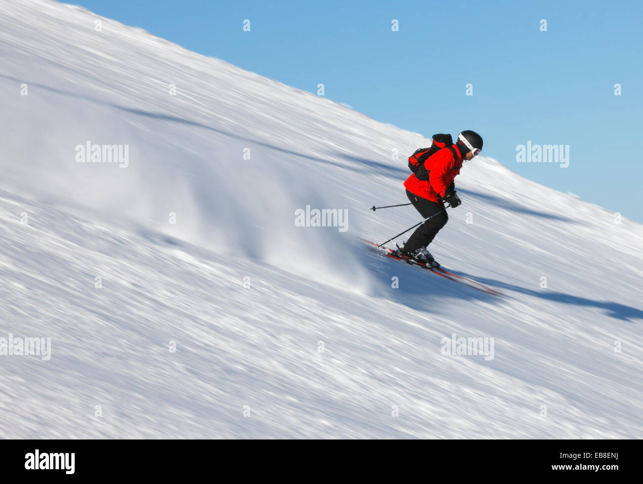Skier downhill - Stock Image