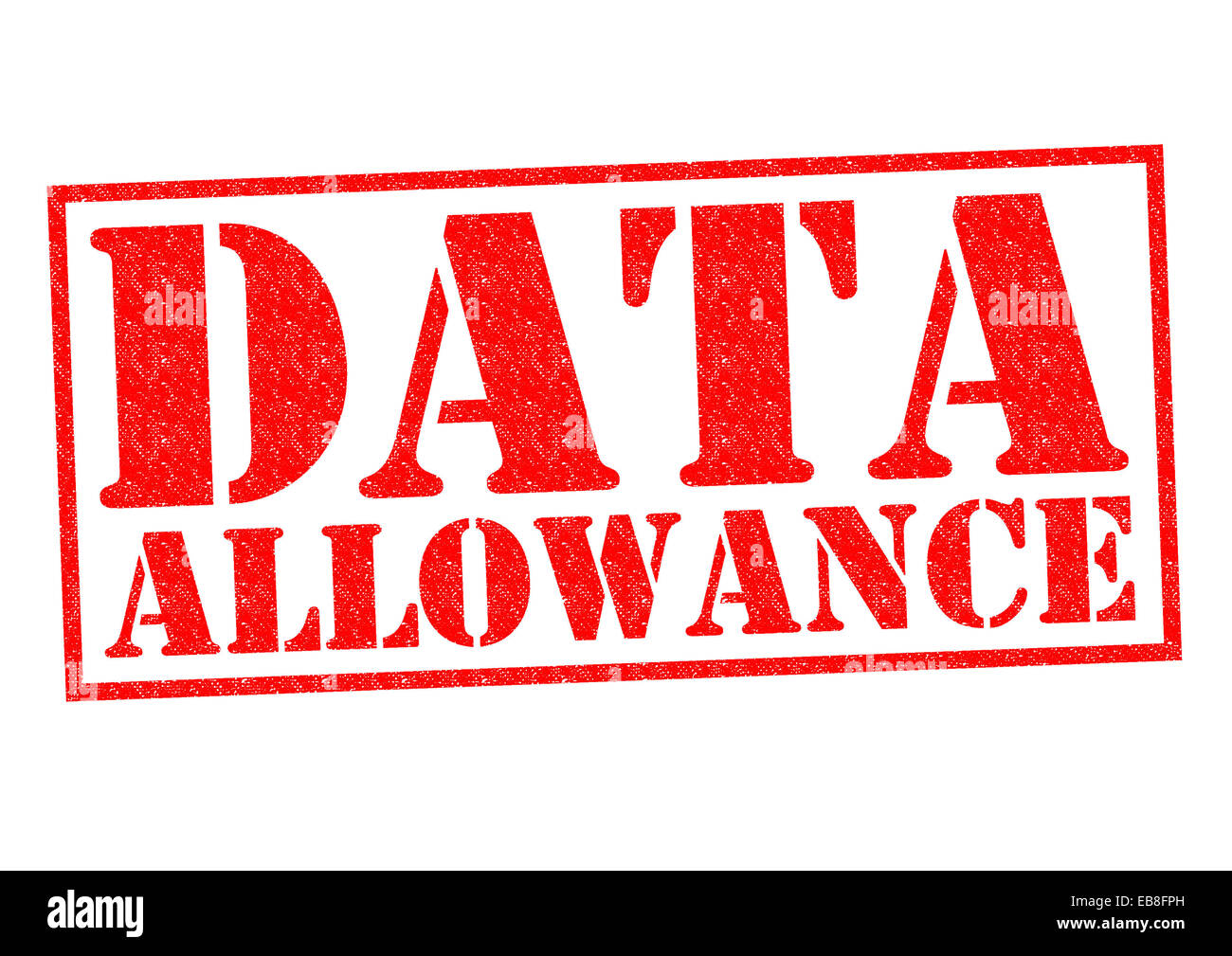 DATA ALLOWANCE red Rubber Stamp over a white background. - Stock Image