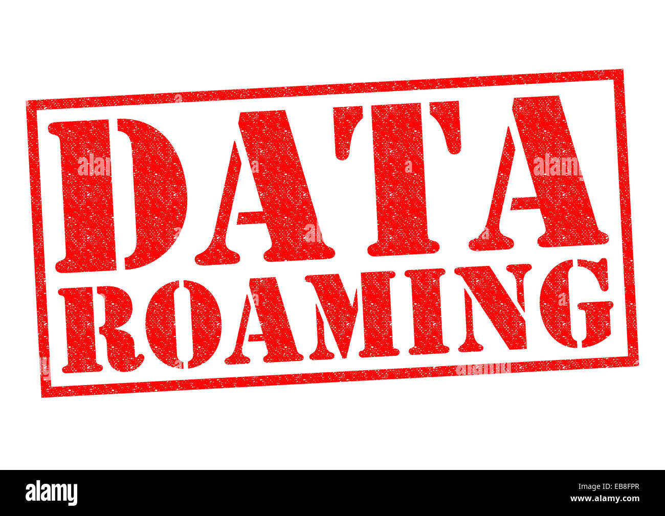 DATA ROAMING red Rubber Stamp over a white background. - Stock Image