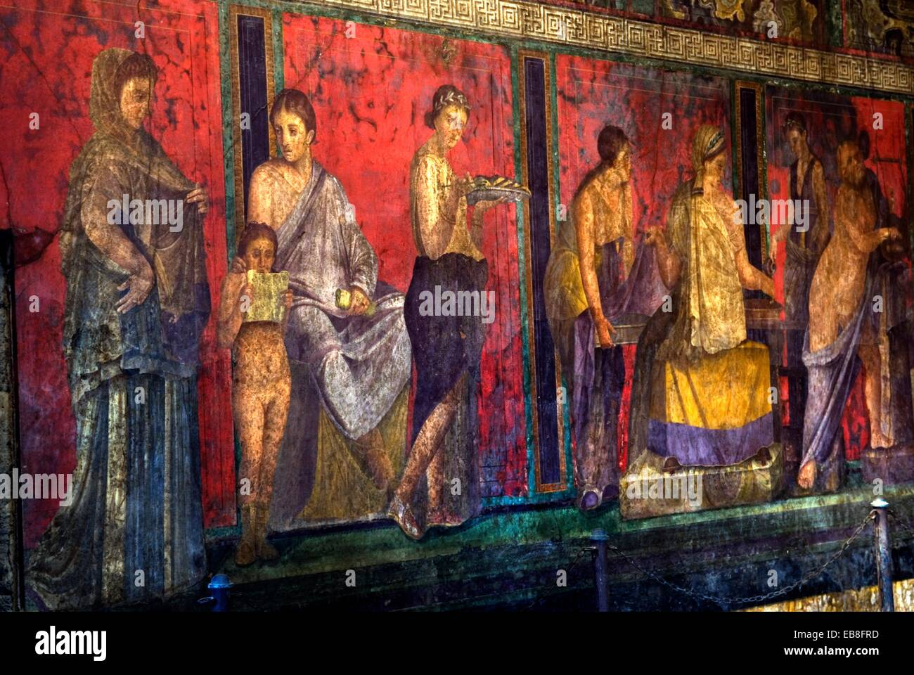 fresco inside the Villa of the Mysteries archeological site of Pompeii province of Naples Campania region southern - Stock Image