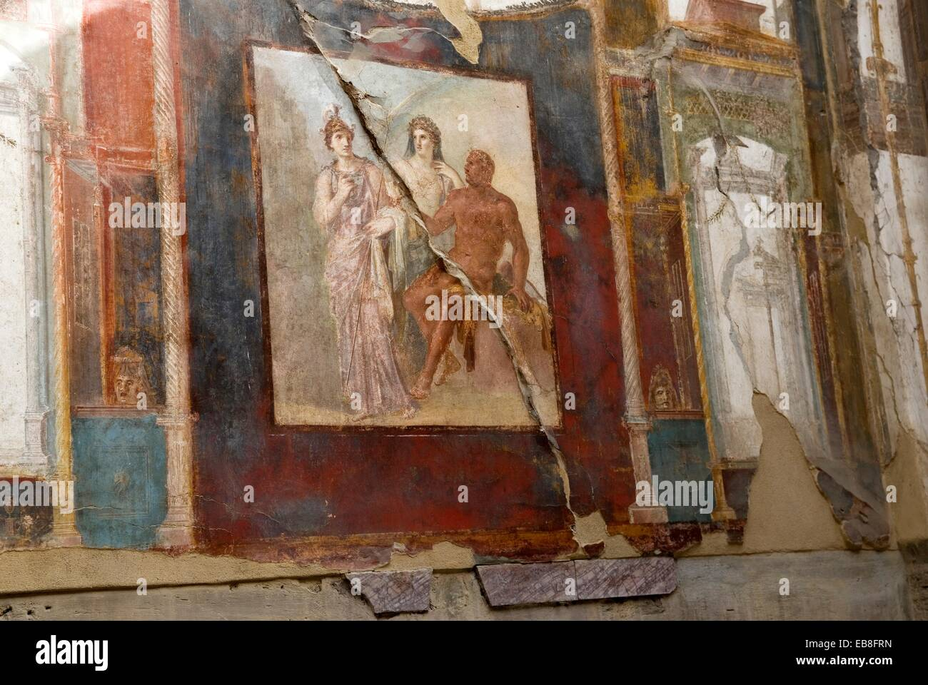 painting depicting Hercule Minerva and Juno inside the Aedes Augustalium archeological site Herculaneum Pompeii - Stock Image